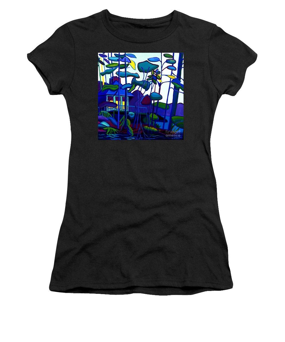 Landscape Women's T-Shirt featuring the painting Dusk on Massapoag by Debra Bretton Robinson