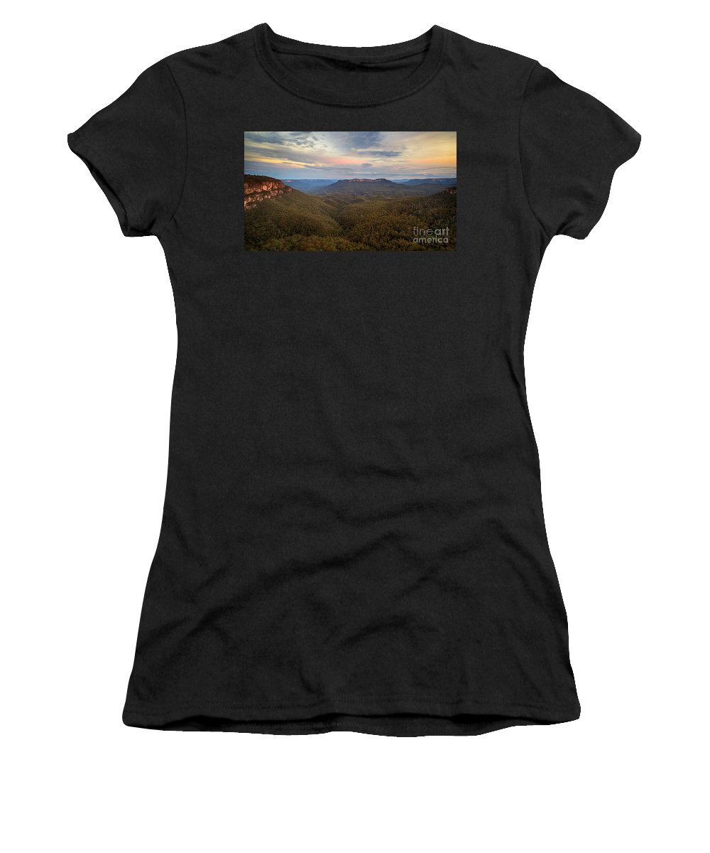 Nature Women's T-Shirt featuring the photograph Dusk Over Mount Solitary by Silken Photography