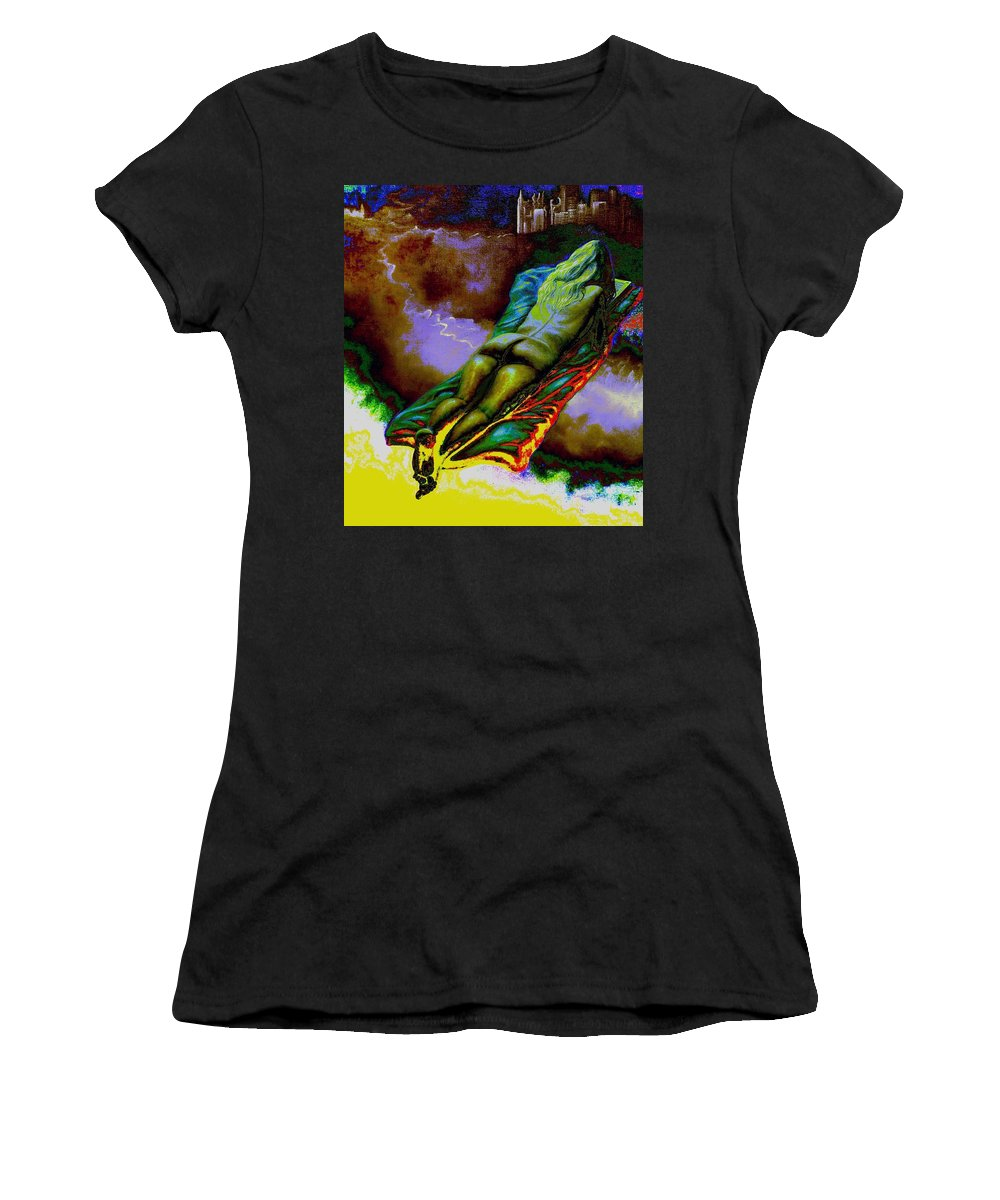 Genio Women's T-Shirt (Athletic Fit) featuring the mixed media Dwelling In Erotic Pleaseure by Genio GgXpress