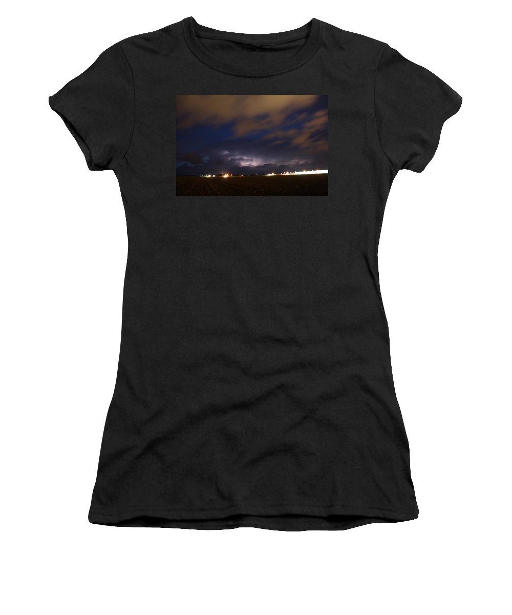 Stormscape Women's T-Shirt (Athletic Fit) featuring the photograph Dying Storm Cells With Fantastic Lightning by NebraskaSC