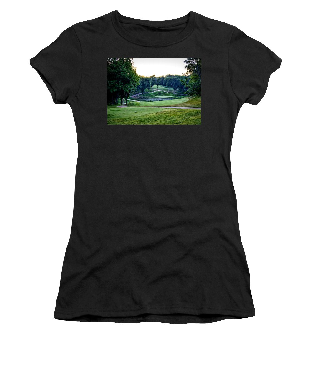 eagle Knoll Women's T-Shirt (Athletic Fit) featuring the photograph Eagle Knoll - Hole Fourteen From The Tees by Cricket Hackmann