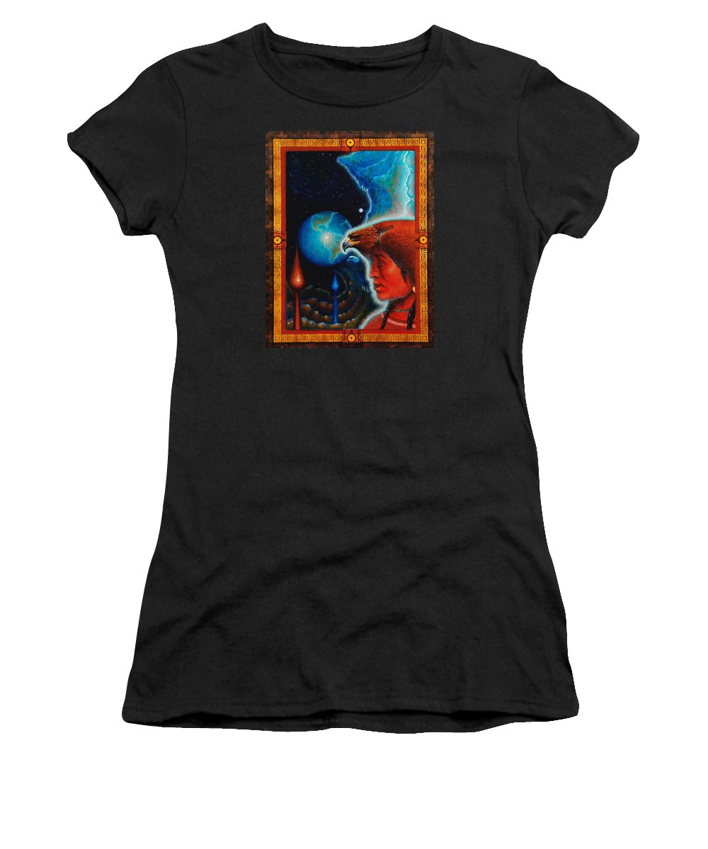 Native American Women's T-Shirt (Athletic Fit) featuring the painting Eagle's Roost by Kevin Chasing Wolf Hutchins