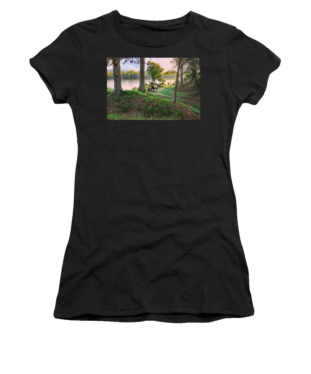 Fort Donelson Women's T-Shirt (Athletic Fit) featuring the photograph Early Morning Cannons by Mary Almond