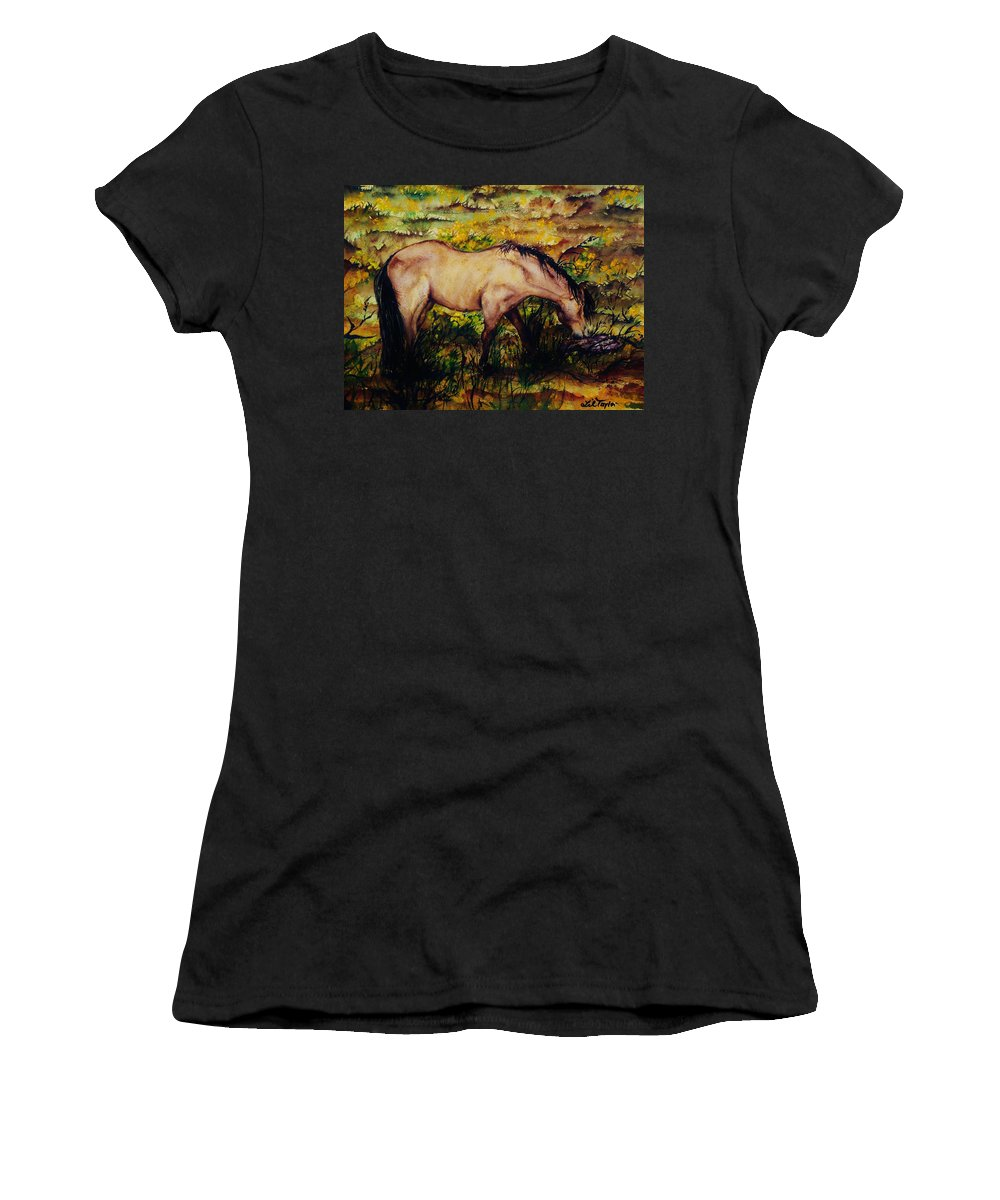 Morning Women's T-Shirt (Athletic Fit) featuring the painting Early Morning Hours by Lil Taylor