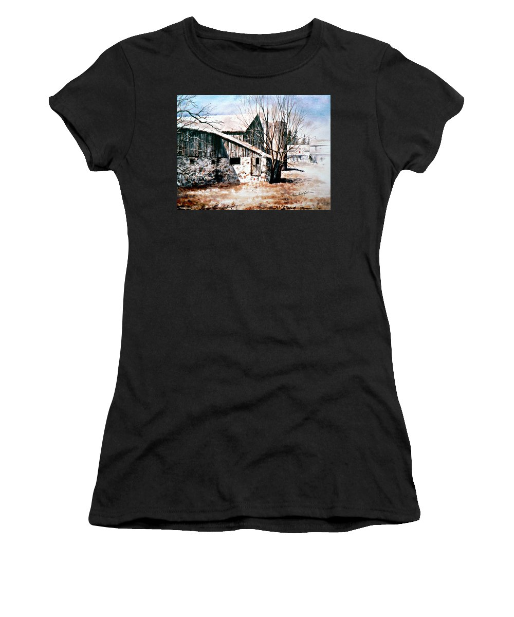 Farmyard Women's T-Shirt (Athletic Fit) featuring the painting Early Spring by Hanne Lore Koehler