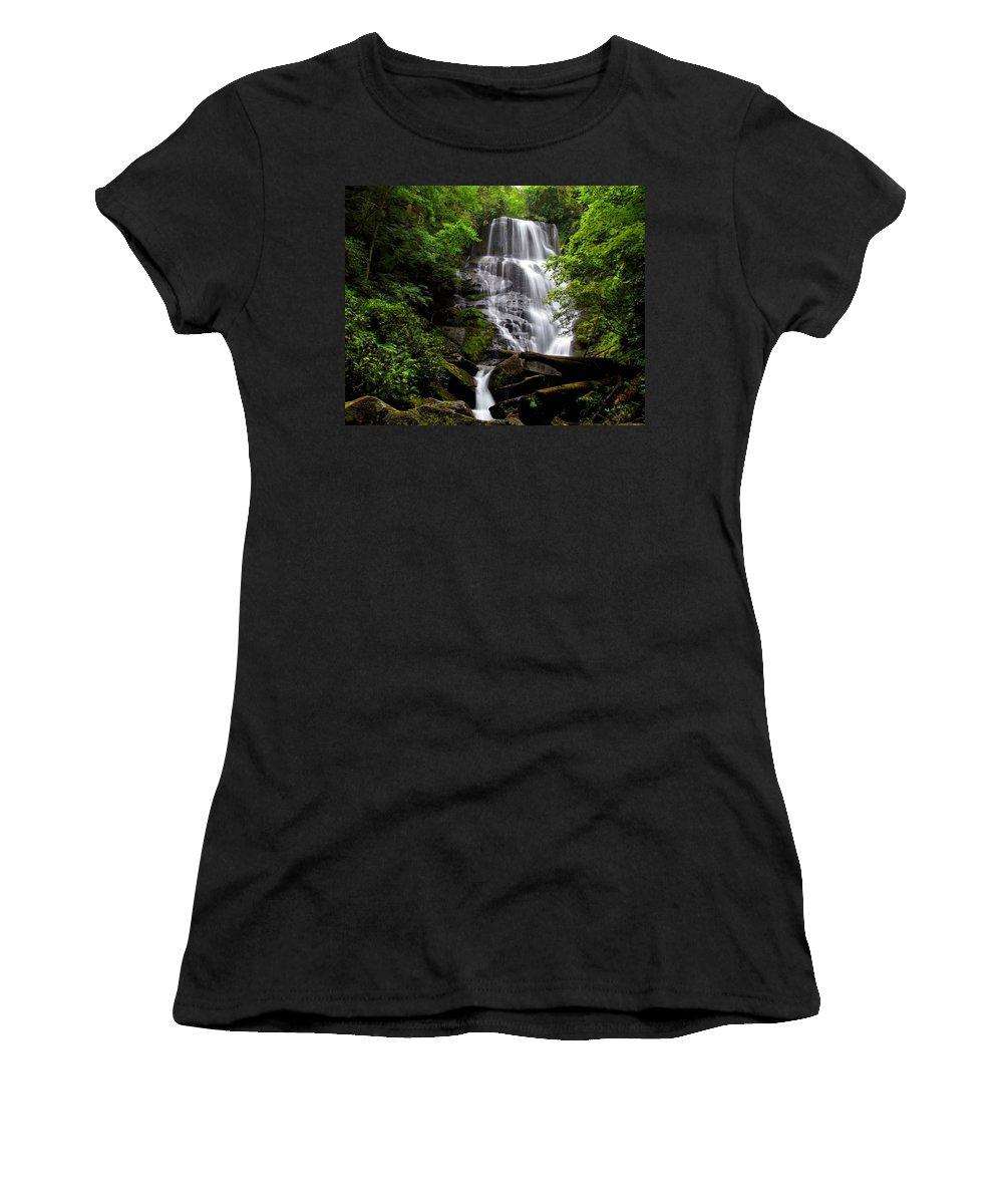 Eastatoe Falls Women's T-Shirt (Athletic Fit) featuring the photograph Eastatoe Falls II by Carol Montoya