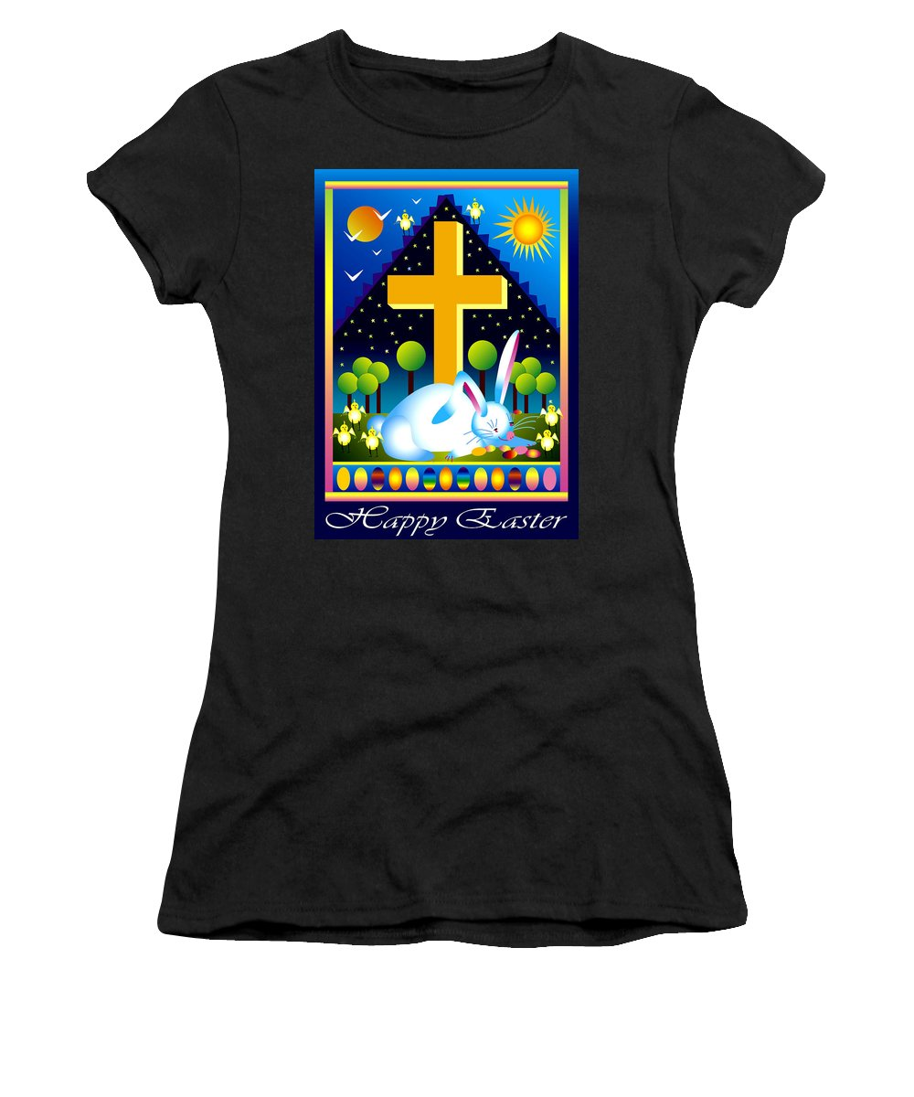 Bunny Women's T-Shirt (Athletic Fit) featuring the digital art Easter Card by Nancy Griswold