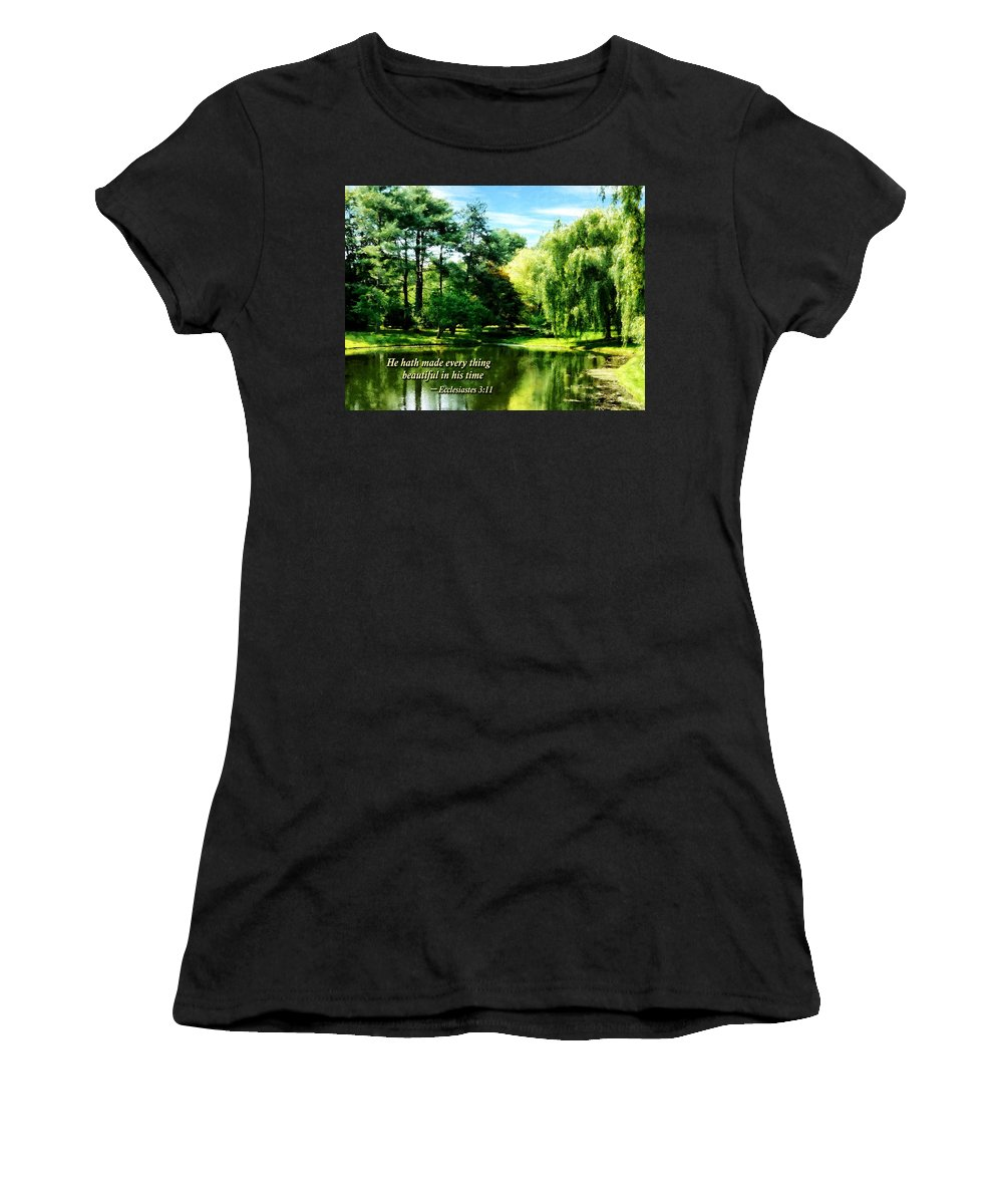 Religious Women's T-Shirt (Athletic Fit) featuring the photograph Ecclesiastes 3 11 He Hath Made Everything Beautiful by Susan Savad