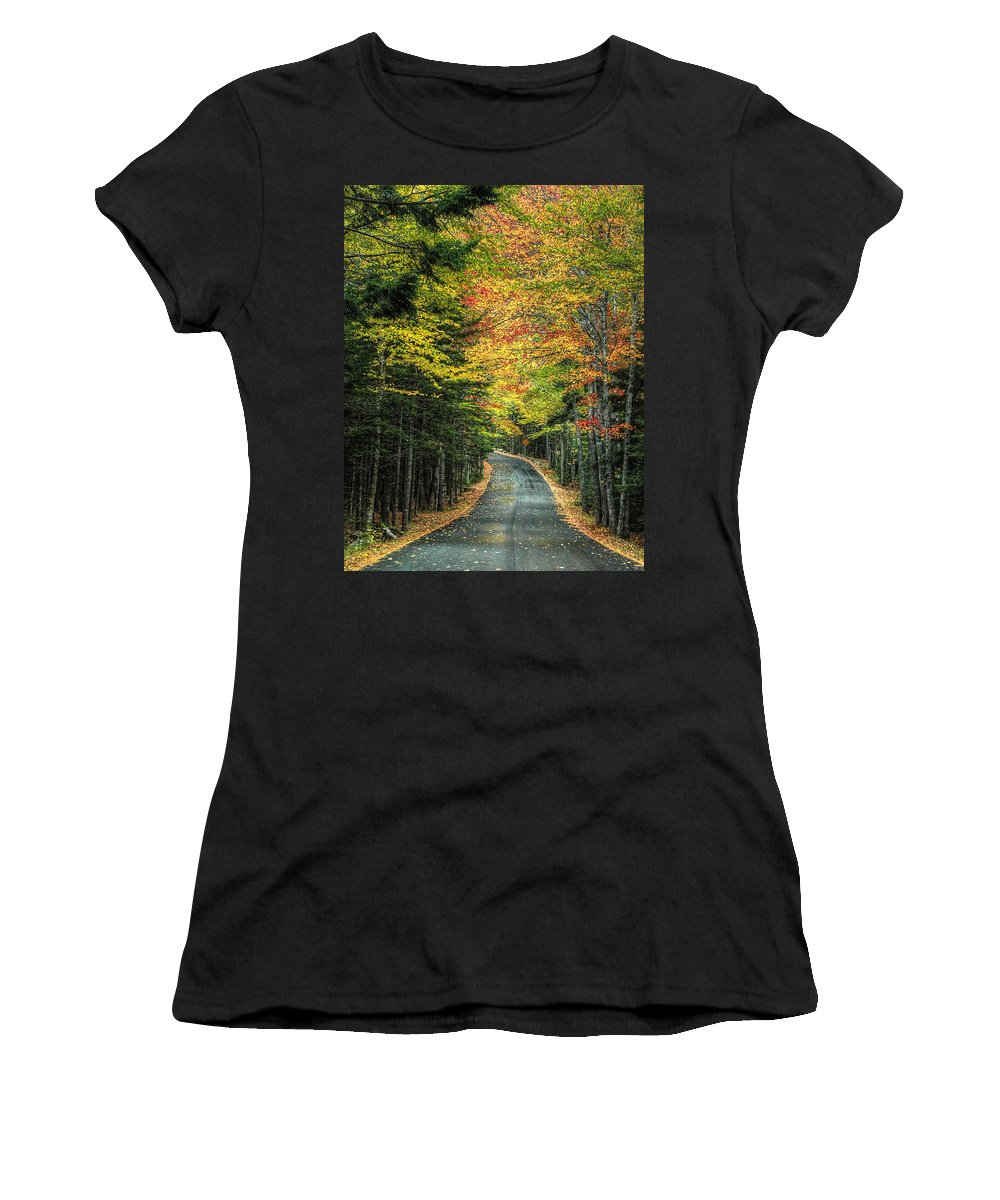 Acadia Women's T-Shirt (Athletic Fit) featuring the photograph Echo Lake Road by Michael Kirk
