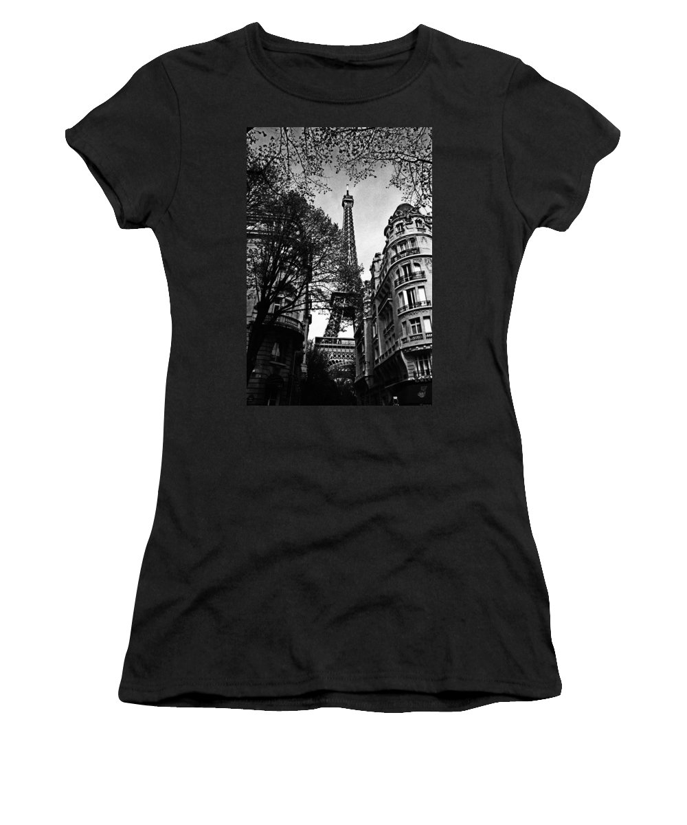 Vintage Eiffel Tower Women's T-Shirt featuring the photograph Eiffel Tower Black And White by Andrew Fare