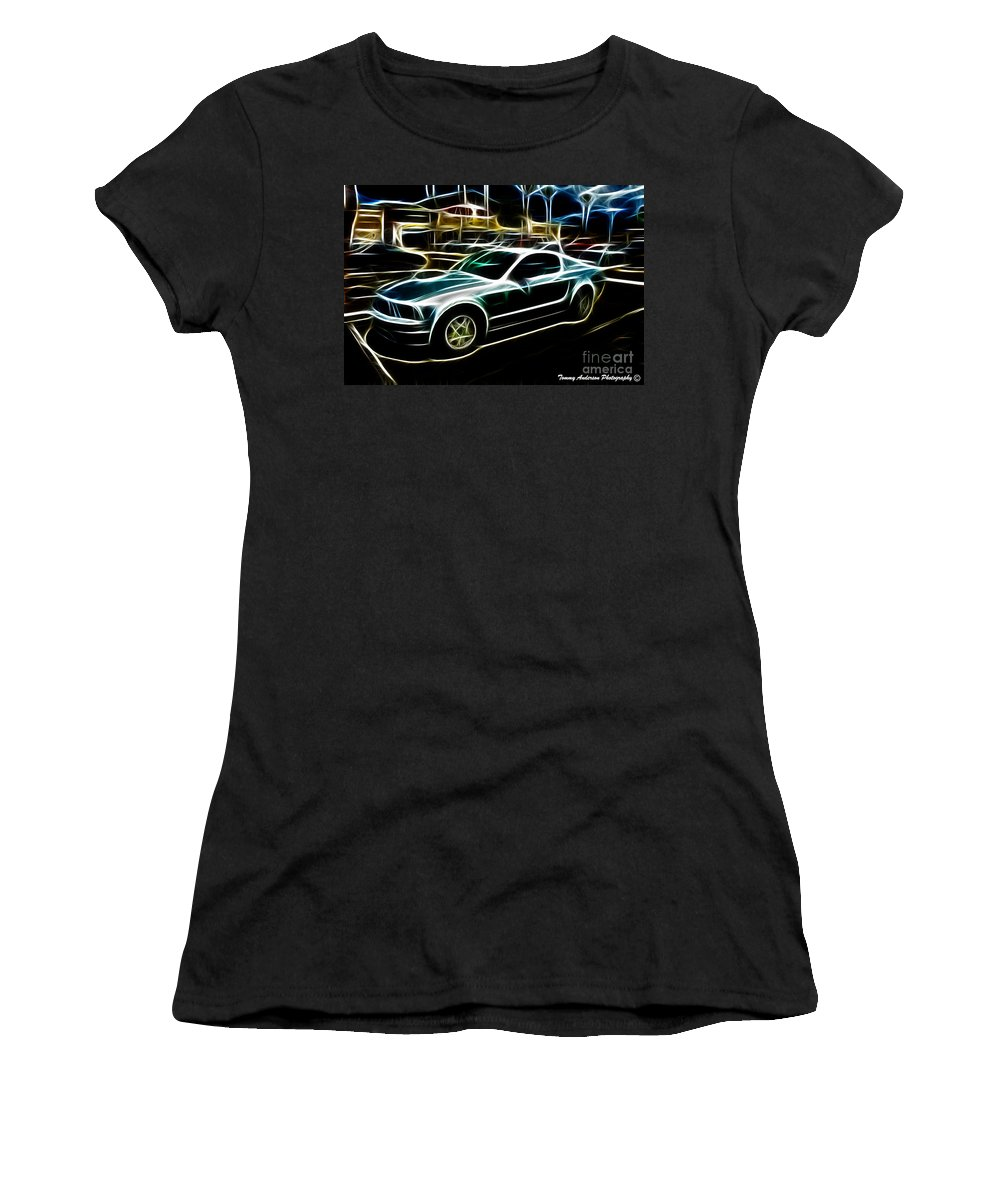 Neon Art Women's T-Shirt (Athletic Fit) featuring the photograph Electric Mustang by Tommy Anderson