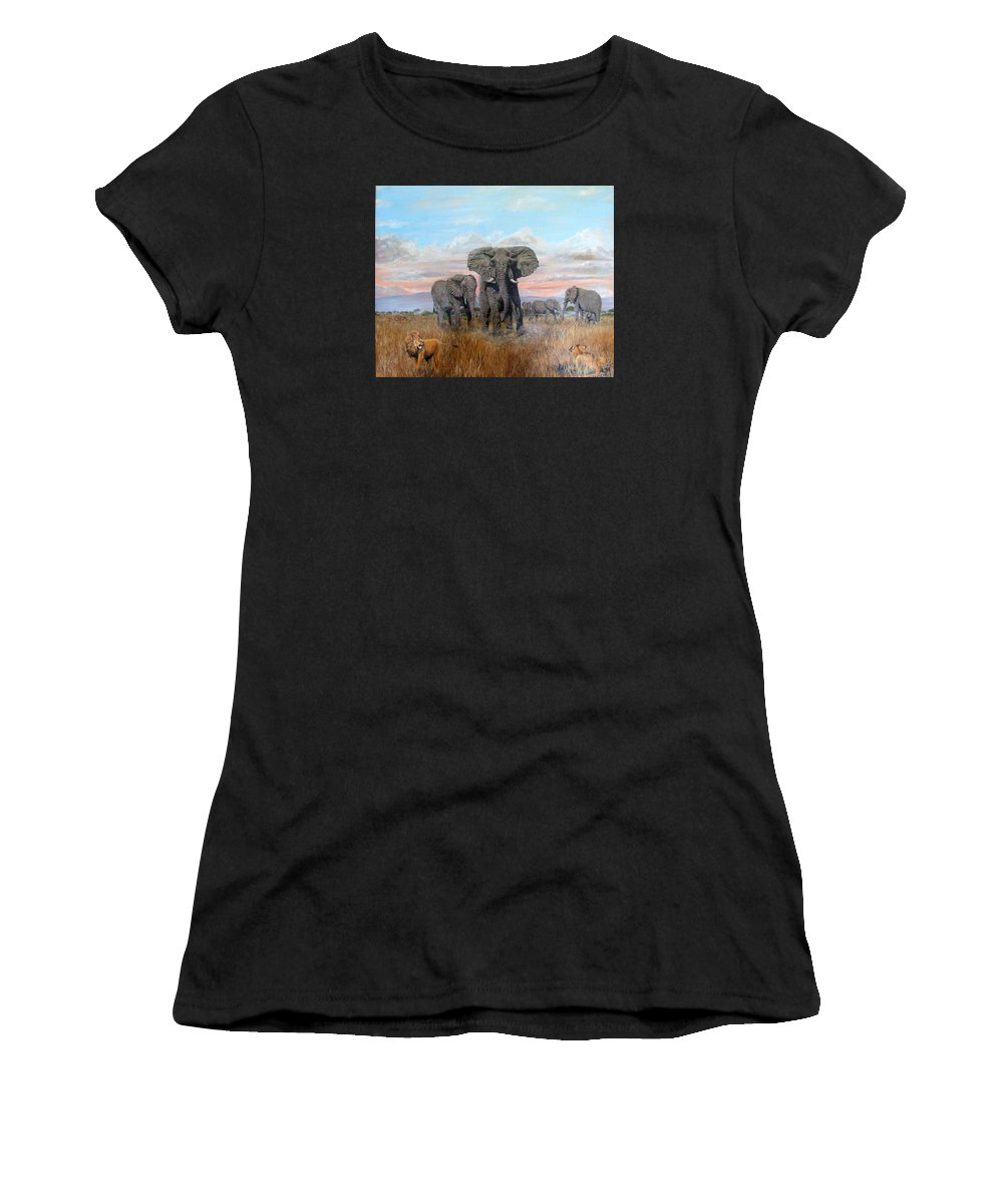 Africa Women's T-Shirt (Athletic Fit) featuring the painting Elephants Warning To The Lions by Mackenzie Moulton