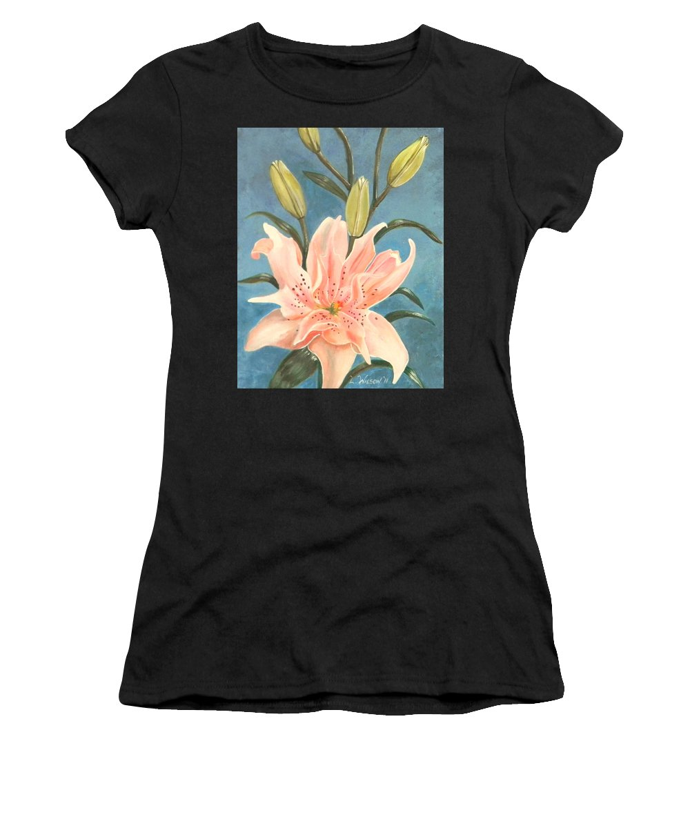 Elodie Lily Women's T-Shirt featuring the painting Elodie Lily by Laura Wilson