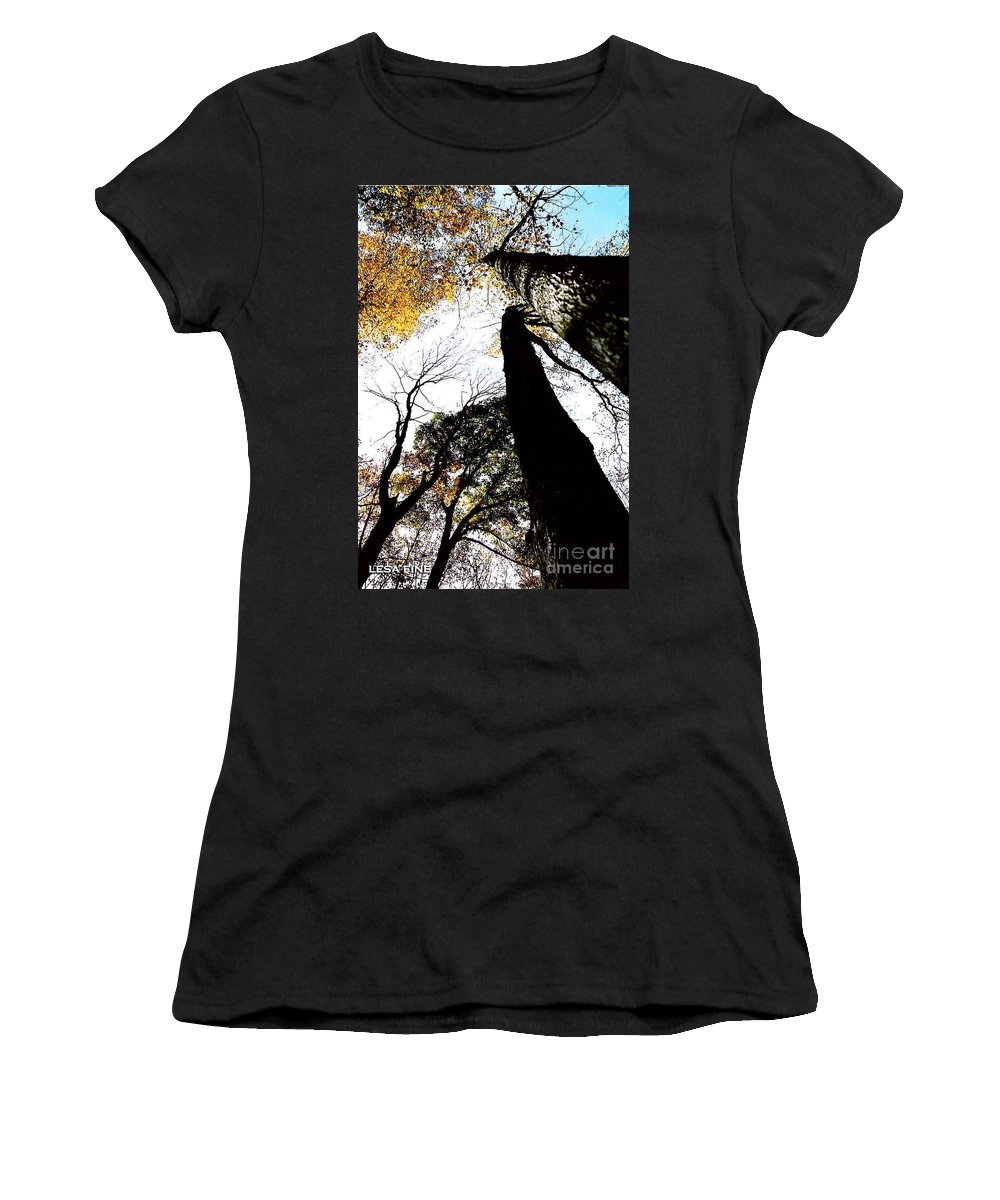 Tall Trees Women's T-Shirt featuring the photograph Elora Trees II by Lesa Fine