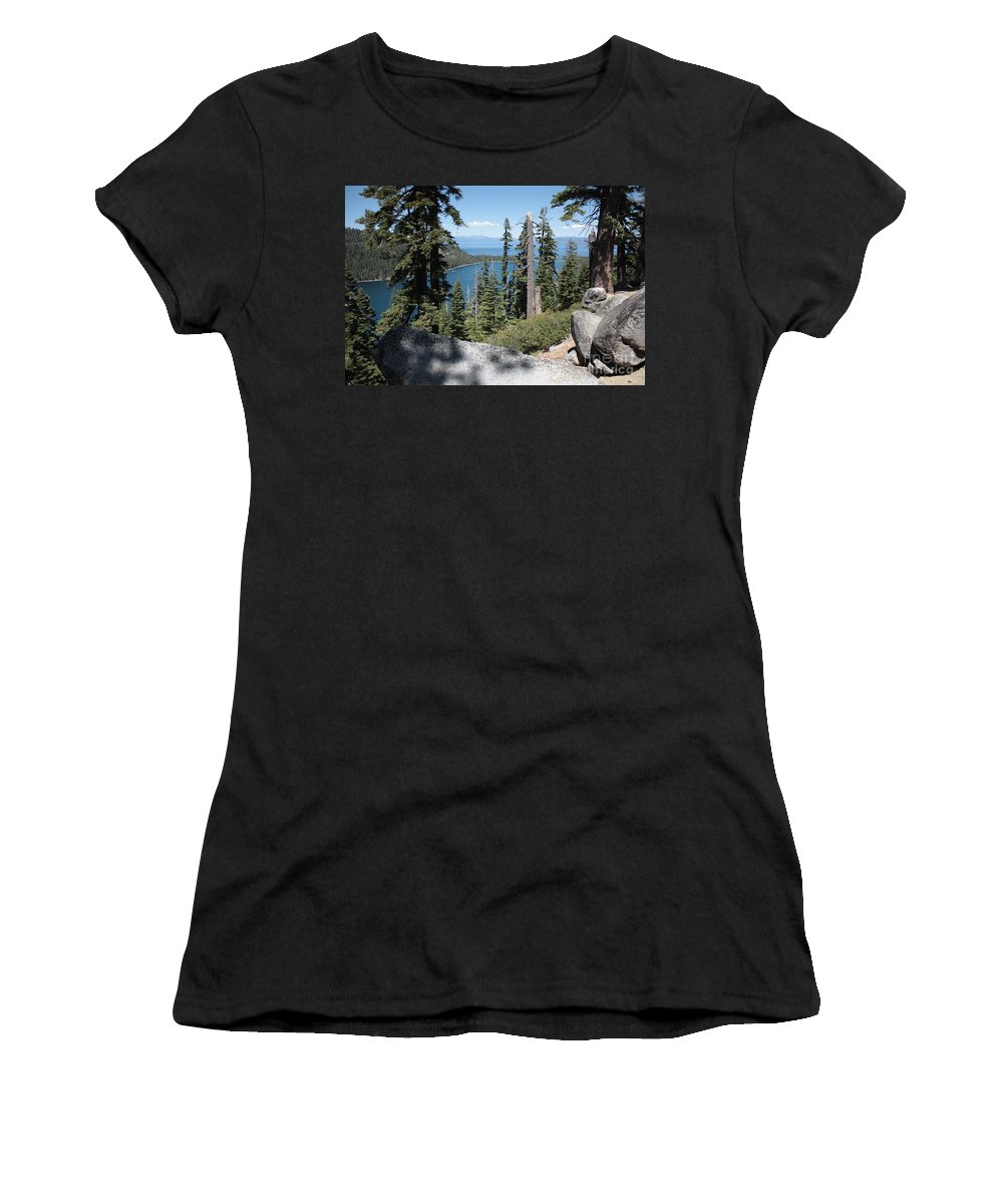 Emerald Bay Women's T-Shirt (Athletic Fit) featuring the photograph Emerald Bay Vista by Carol Groenen