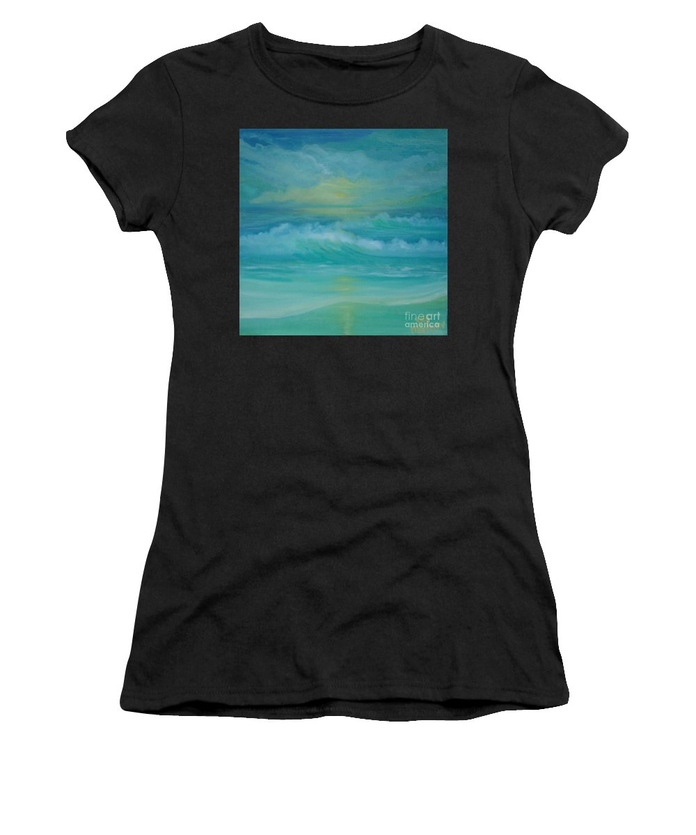 Seascapes Seascape Beach Ocean Waves Shore Coast Green Yellow Blue Clouds Storm Sunrise Sunset Water Sun Summer Women's T-Shirt featuring the painting Emerald Waves by Holly Martinson