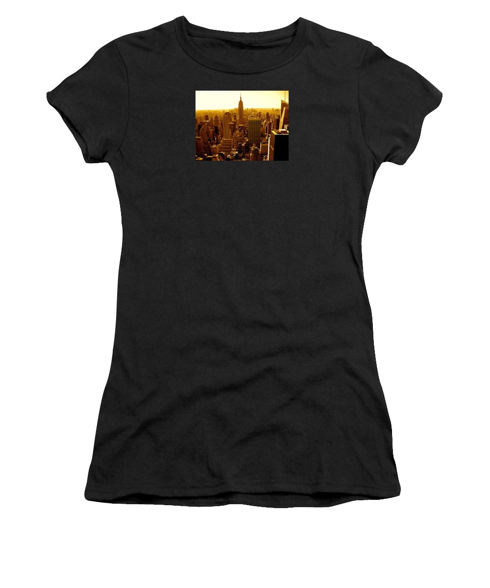Manhattan Prints And Posters Women's T-Shirt (Athletic Fit) featuring the photograph Manhattan And Empire State Building by Monique's Fine Art