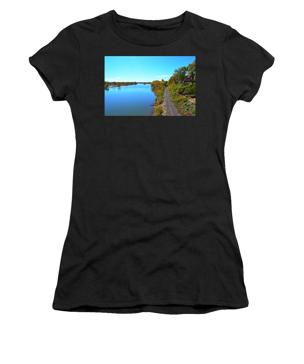 Empty Women's T-Shirt (Athletic Fit) featuring the photograph Empty Train Tracks Of Rockford On The Rock River With Fall Colors by Jeff at JSJ Photography