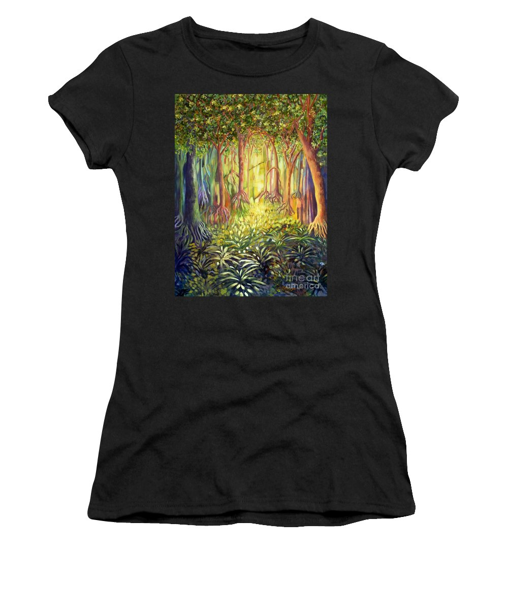Forests Women's T-Shirt (Athletic Fit) featuring the painting Enchanted Forest by Caroline Street