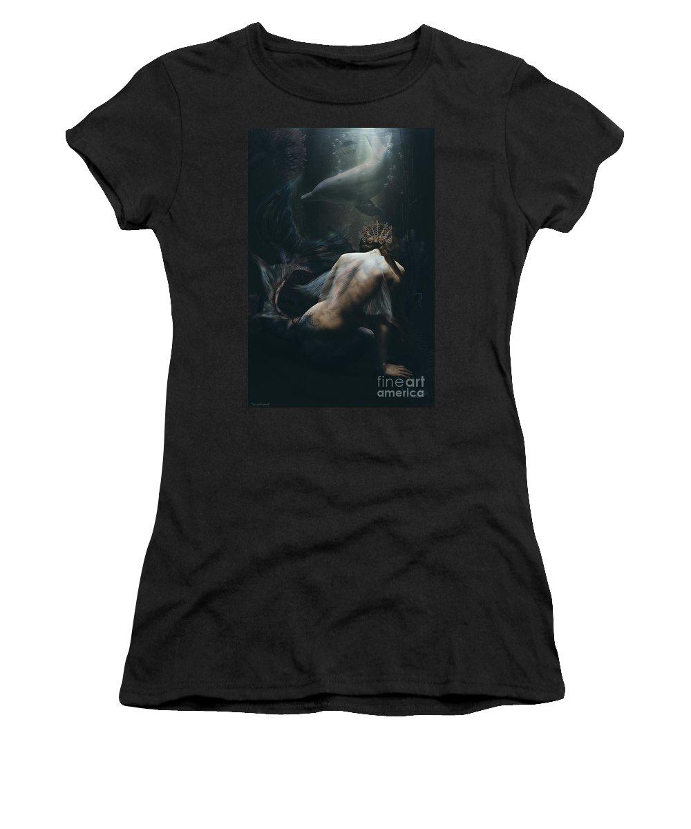Art Women's T-Shirt featuring the digital art Encounter by Babette Van den Berg