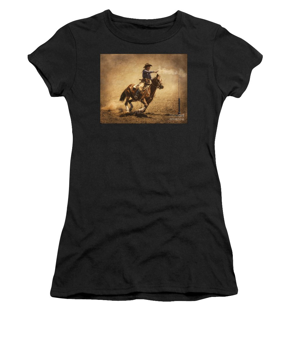 Mounted Shooting Women's T-Shirt featuring the photograph End Of Trail Mounted Shooting by Priscilla Burgers