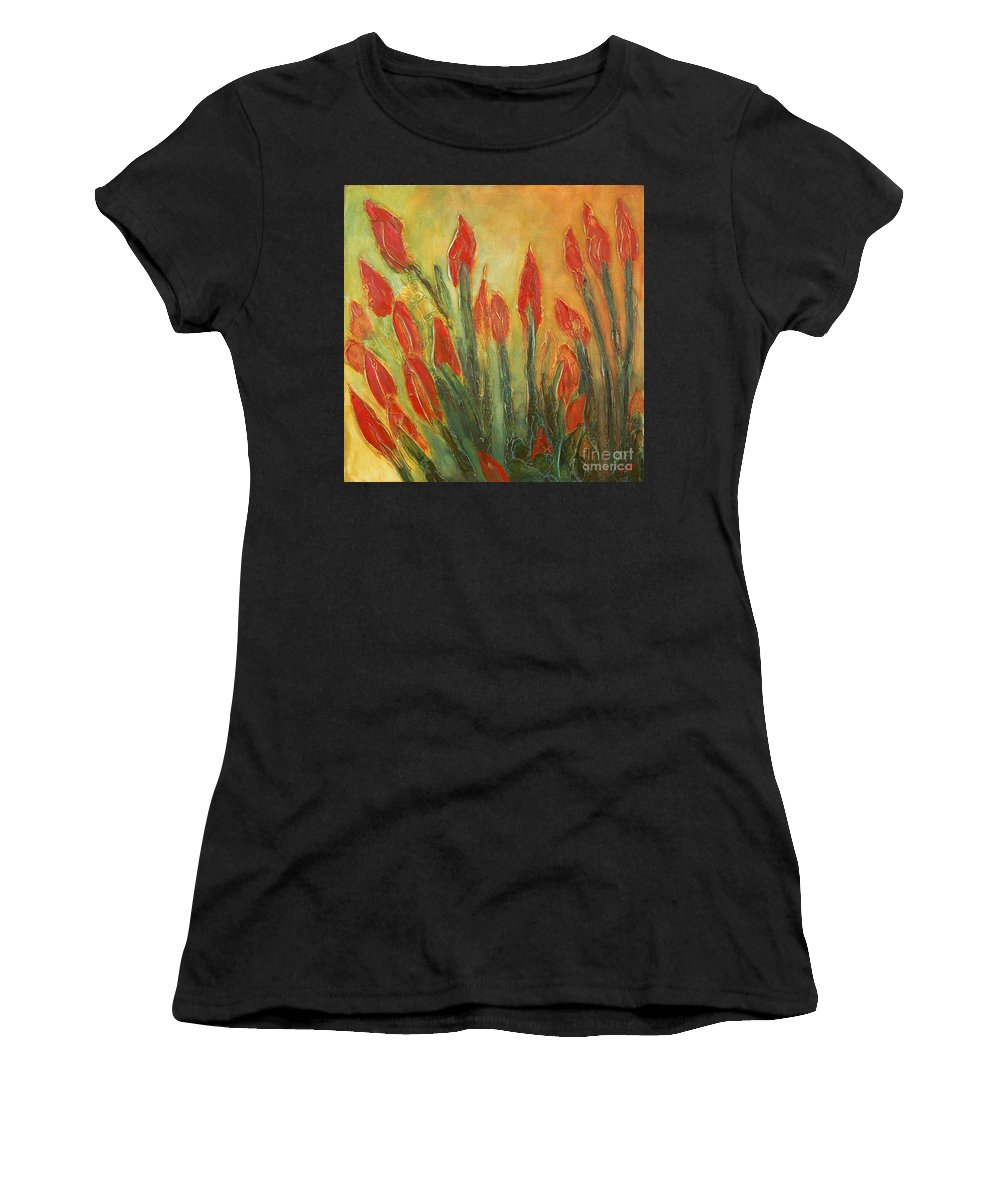 Flower Women's T-Shirt (Athletic Fit) featuring the painting Endangered Species by Tonya Henderson