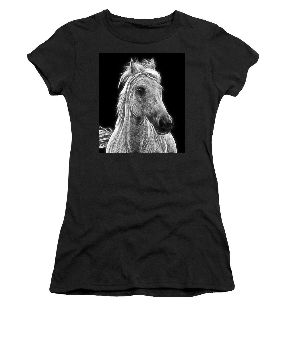 Horse Women's T-Shirt featuring the photograph Energetic White Horse by Joachim G Pinkawa