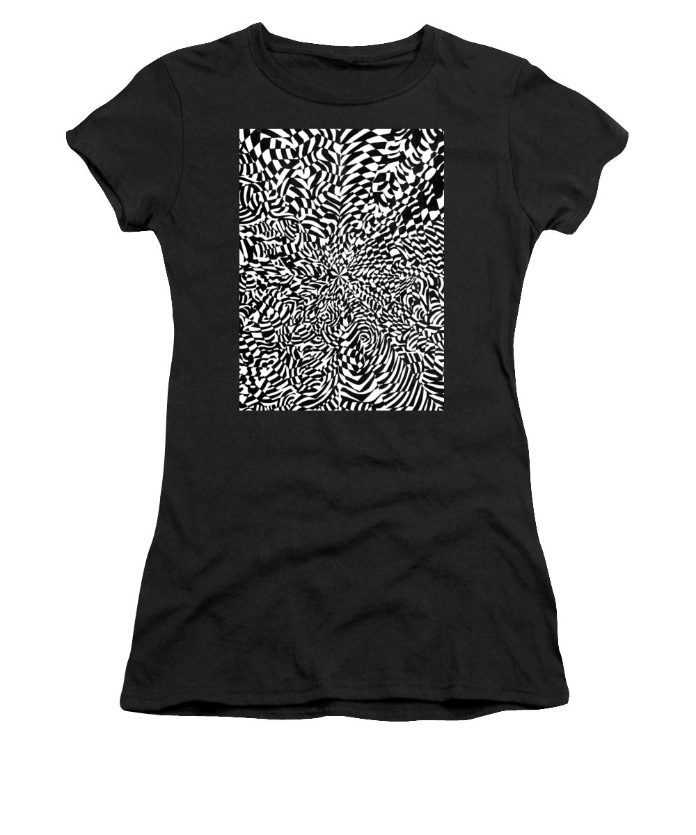 Abstract Women's T-Shirt (Athletic Fit) featuring the drawing Entangle by Crystal Hubbard