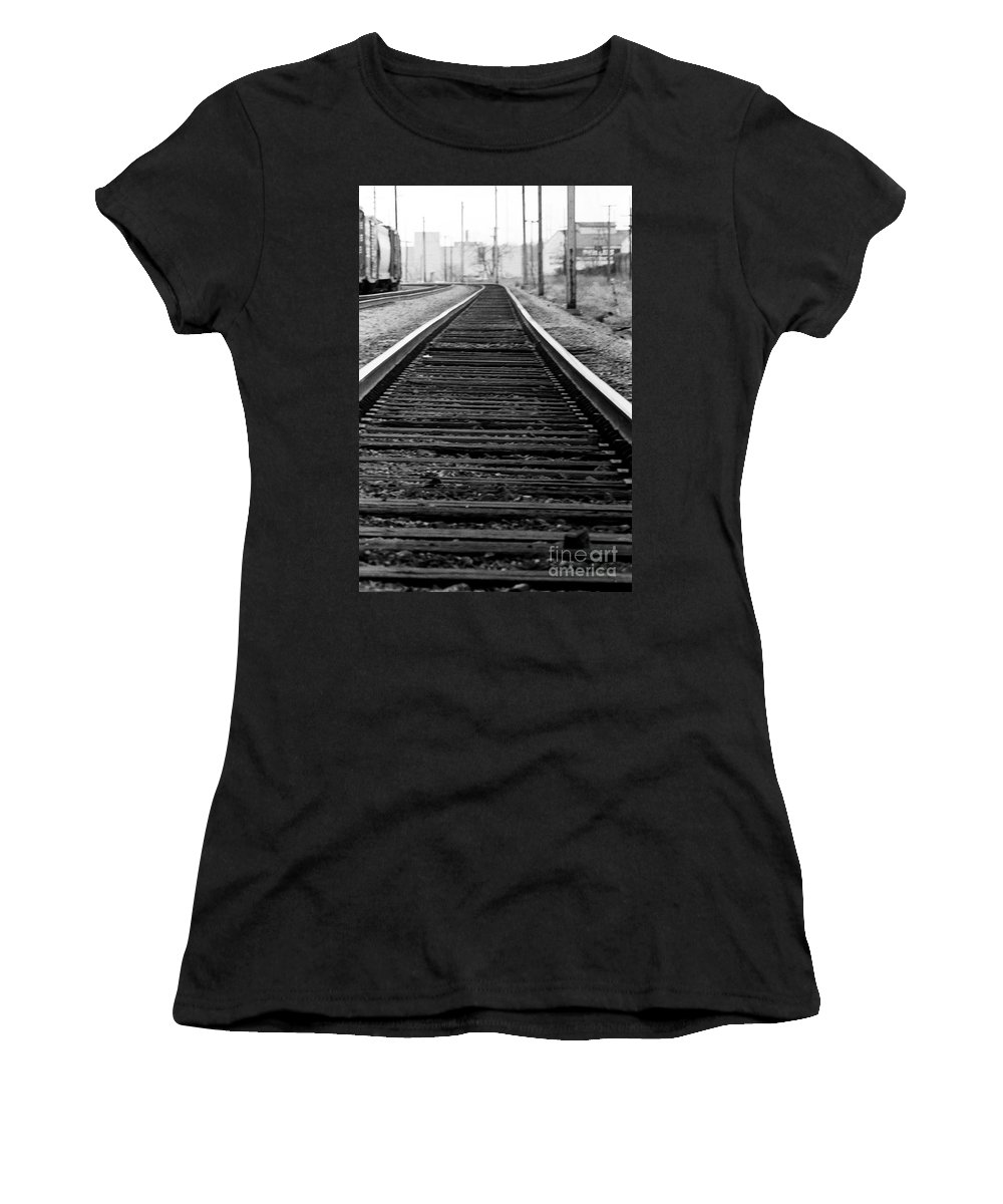 Tracks Women's T-Shirt (Athletic Fit) featuring the photograph Entering The Train Yard. Washington Dc by Thomas Marchessault