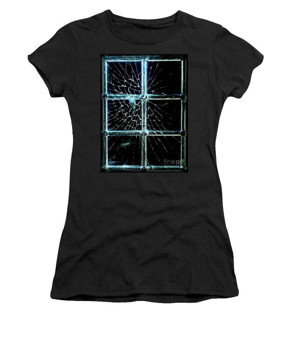 Cracked Glass Women's T-Shirt featuring the photograph Entry Denied by James Aiken