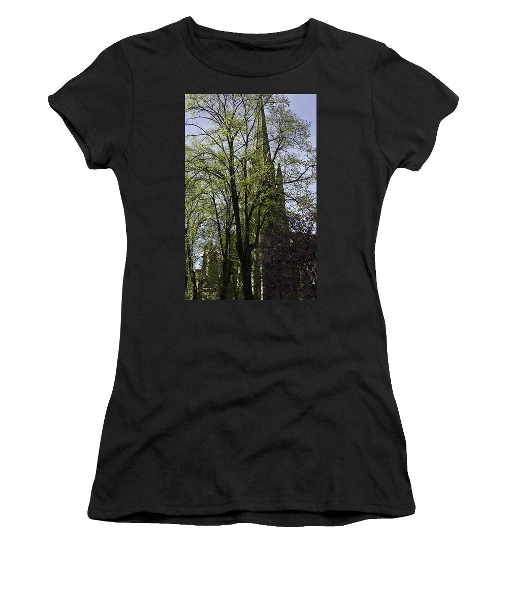 Action Women's T-Shirt (Athletic Fit) featuring the photograph Episcopal Cathedral In Edinburgh Visible Through Trees by Ashish Agarwal