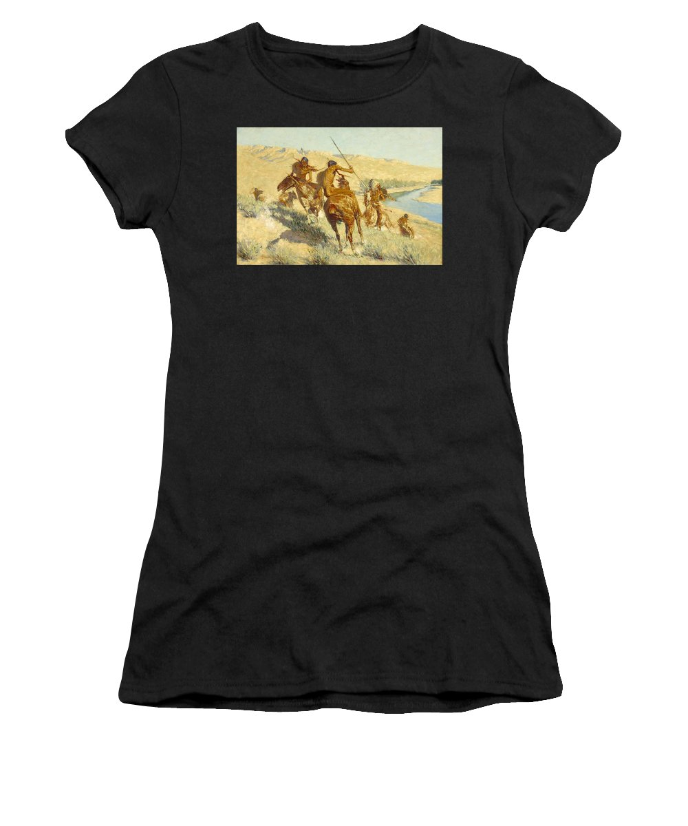 Frederic Remington Women's T-Shirt (Athletic Fit) featuring the painting Episode Of The Buffalo Gun by Frederic Remington