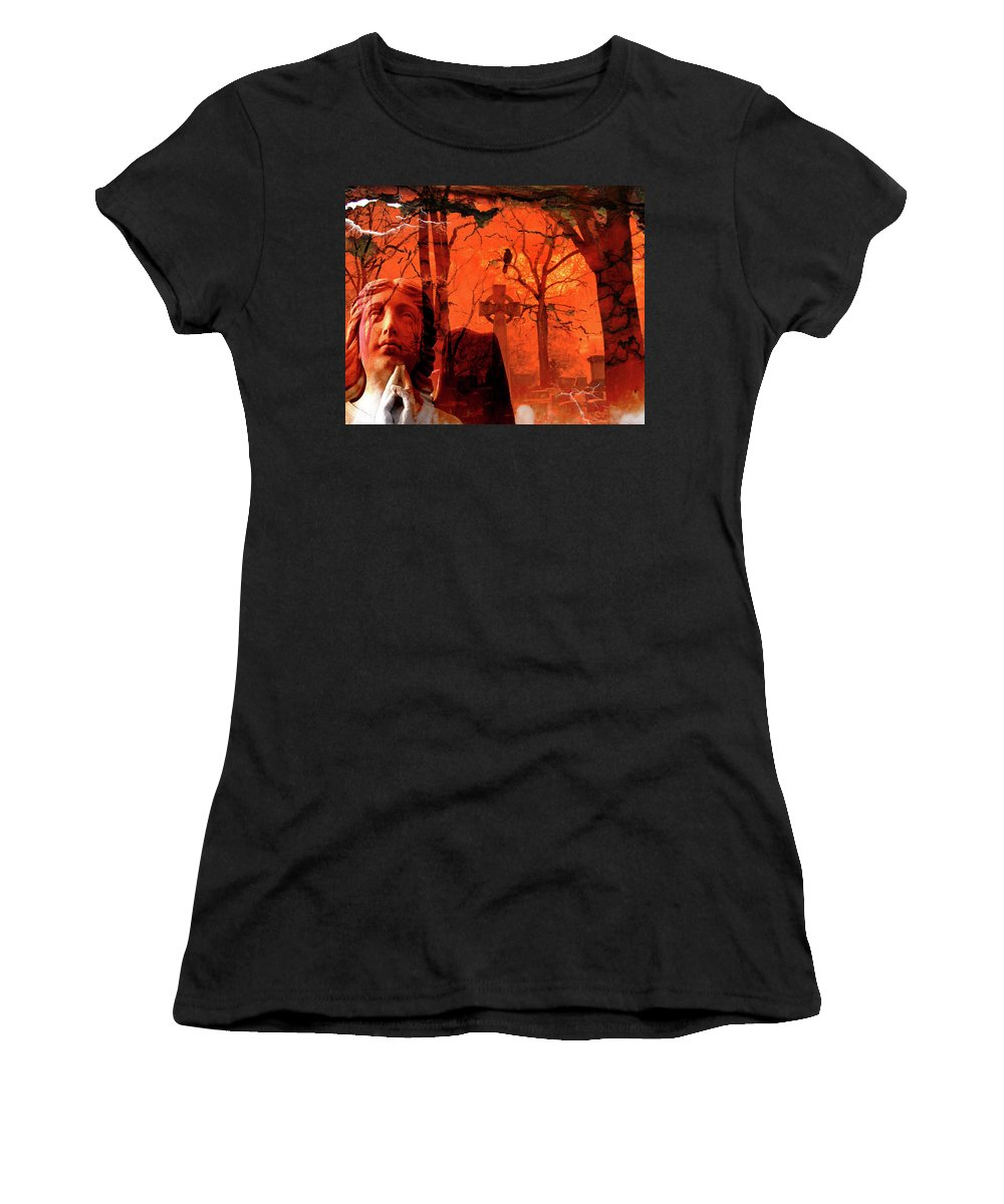 Red Women's T-Shirt (Athletic Fit) featuring the digital art Ethereal Red by Gothicrow Images