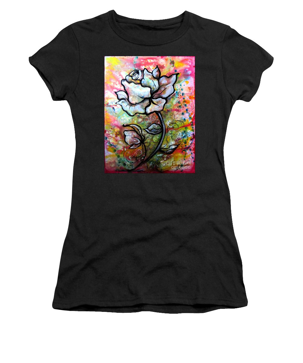 Art Women's T-Shirt (Athletic Fit) featuring the painting Ethereal Rose by Shadia Derbyshire