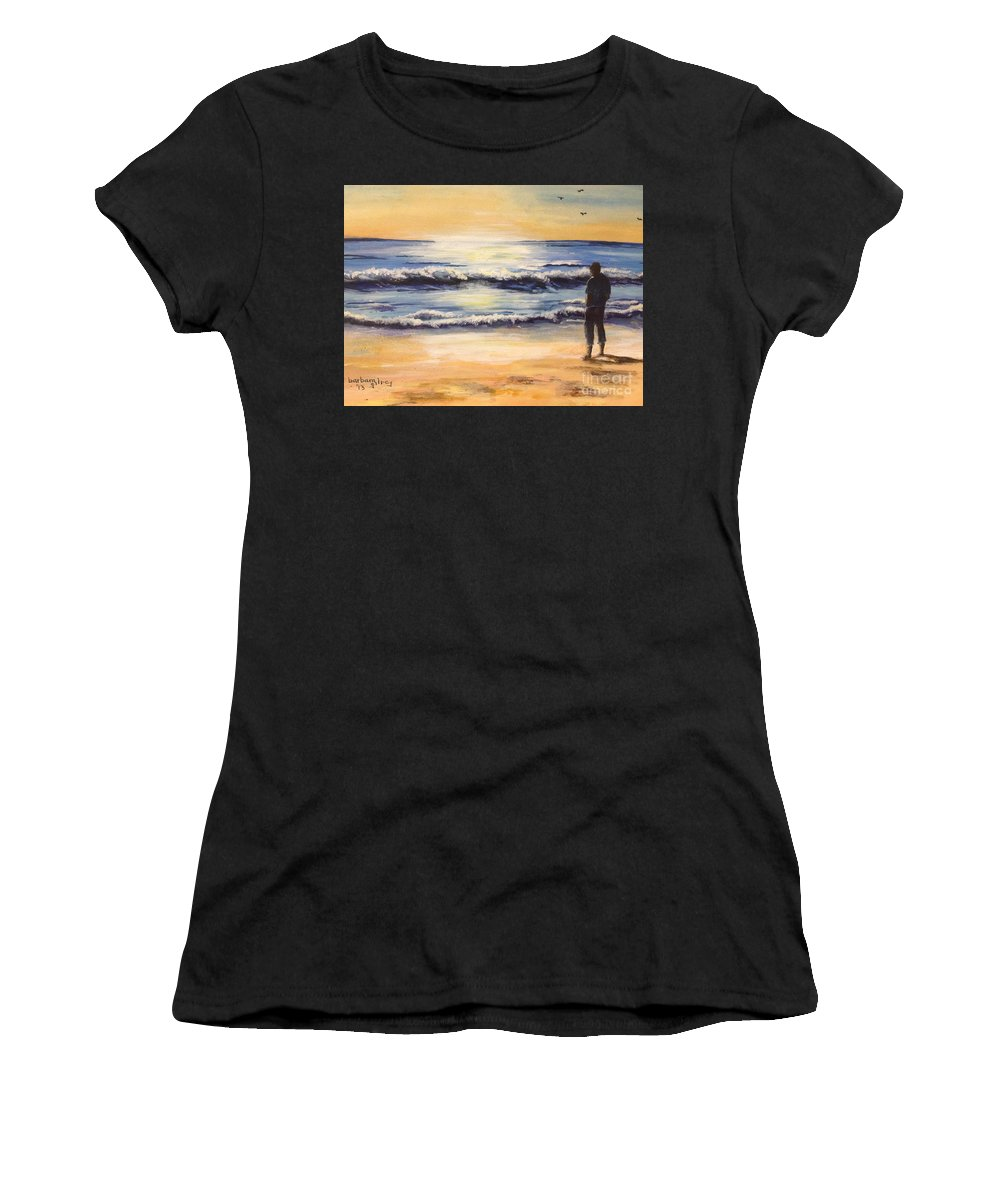 Seashore Women's T-Shirt (Athletic Fit) featuring the painting Evening by Barbara Gilroy