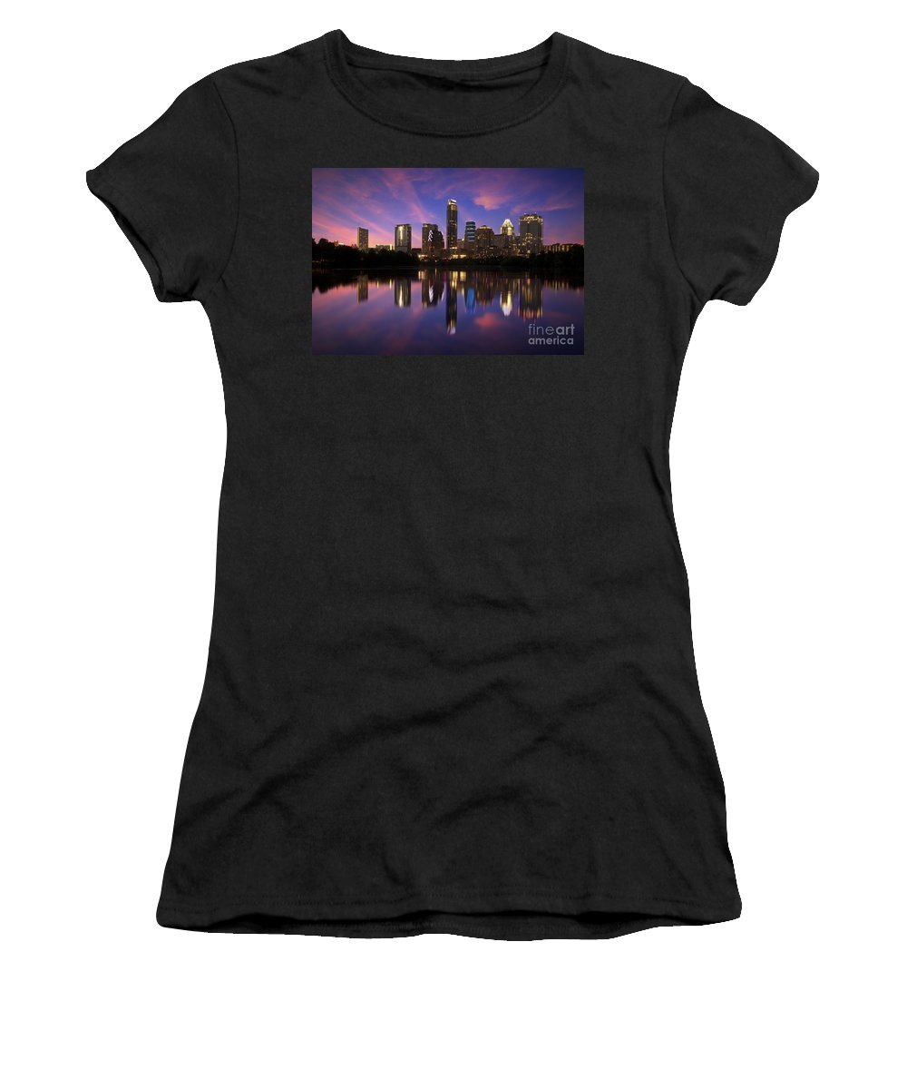 Skyline Austin; Austin Skyline; Austin Texas; Sunsets Austin; Sunsets; Beautiful Sunset Photographs; Randy Smith; Campus Art Prints Women's T-Shirt featuring the photograph Evening Blue Austin by Randy Smith