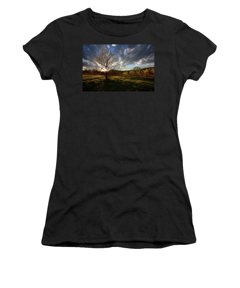 Spring Sunset Canvas Print Women's T-Shirt (Athletic Fit) featuring the photograph Evening In The Park by Jim Garrison