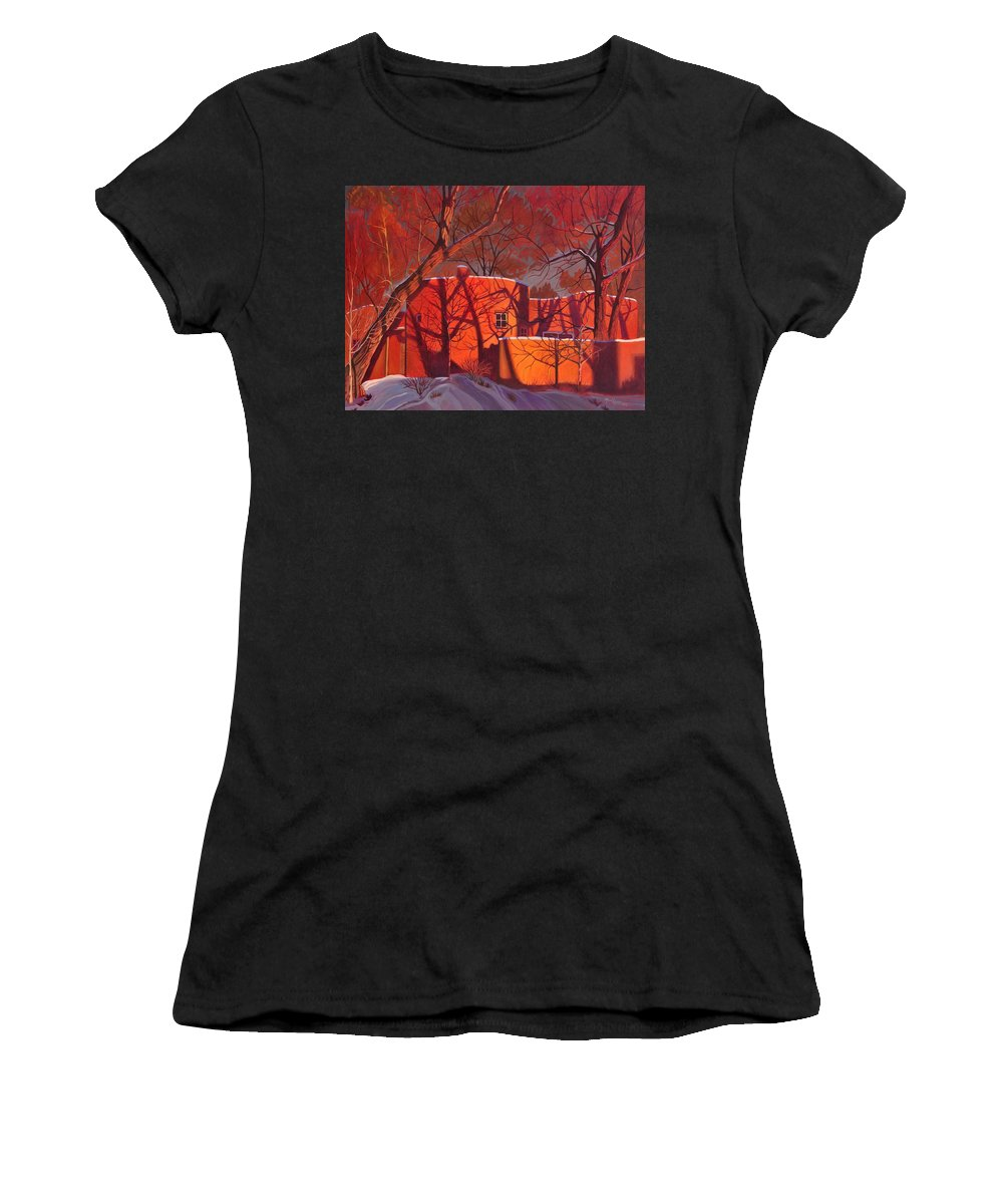 Taos Women's T-Shirt featuring the painting Evening Shadows On A Round Taos House by Alan Heuer