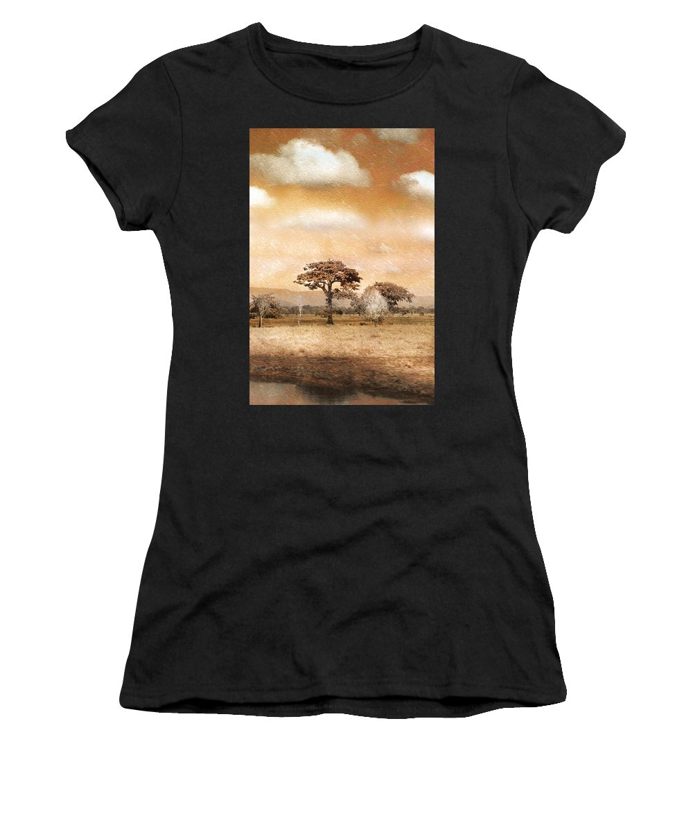 Landscapes Women's T-Shirt (Athletic Fit) featuring the photograph Evening Showers by Holly Kempe
