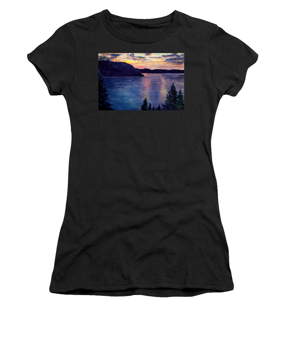 Sunset Women's T-Shirt (Athletic Fit) featuring the painting Evening Song by Brenda Owen