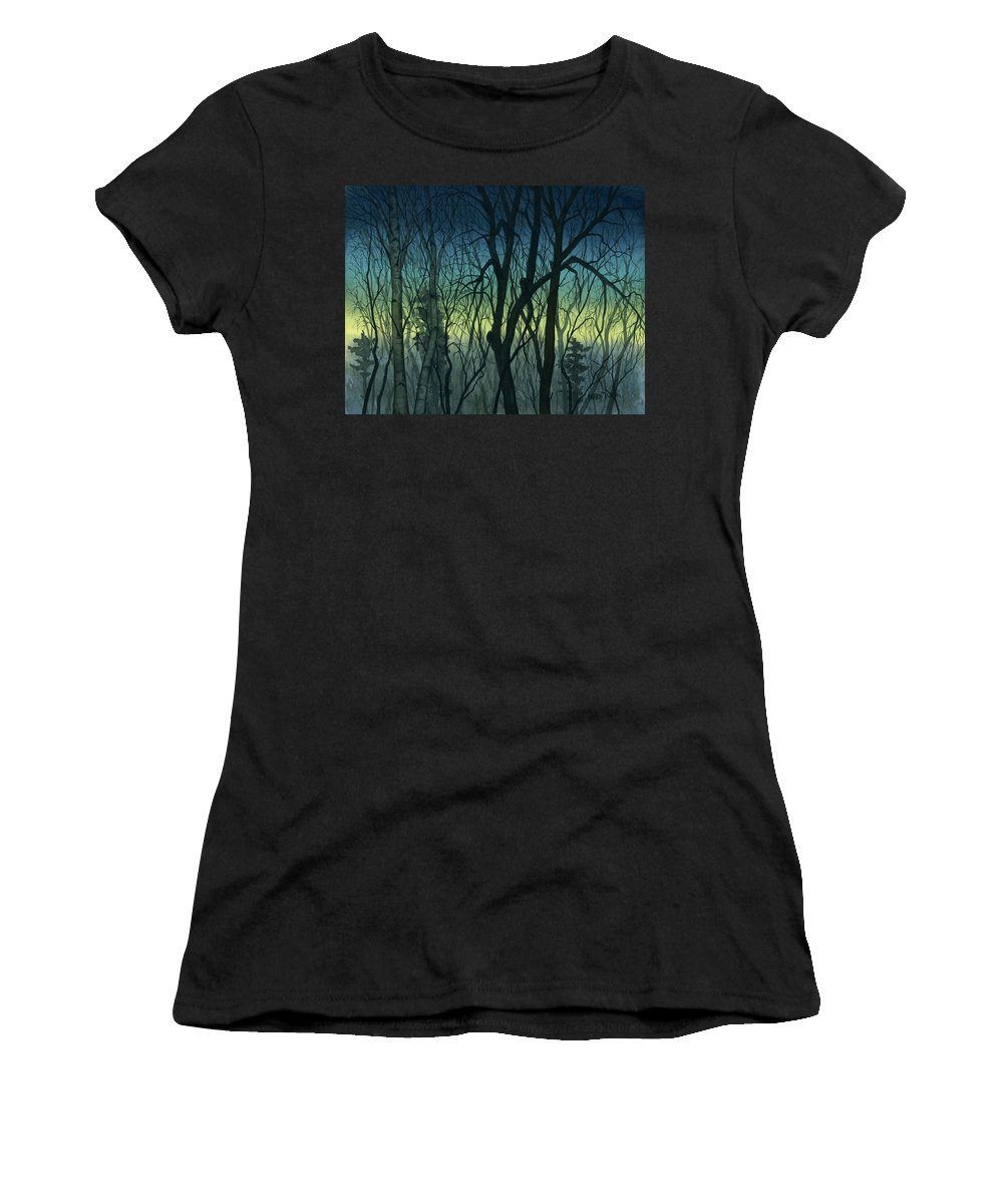 Blue Women's T-Shirt (Athletic Fit) featuring the painting Evening Stand by Mary Tuomi