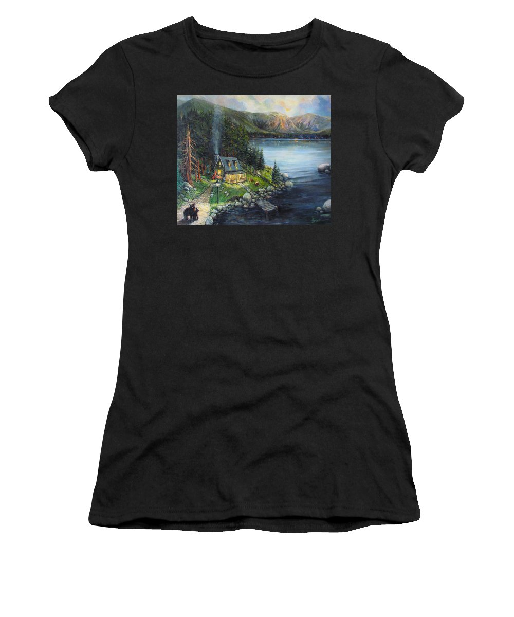 Animals Women's T-Shirt featuring the painting Evening Visitors by Donna Tucker