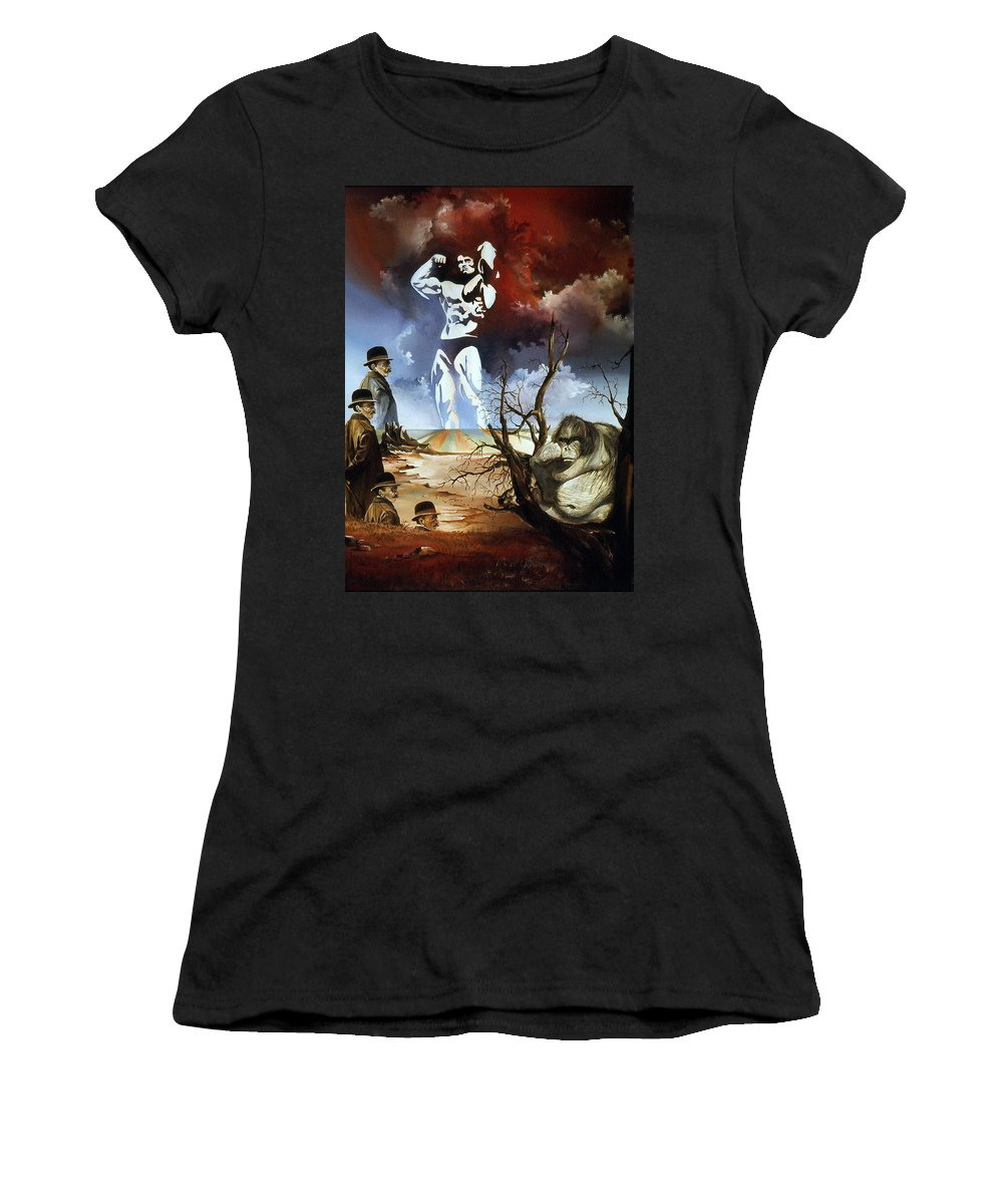Surrealism Women's T-Shirt (Athletic Fit) featuring the painting Evolution by Otto Rapp