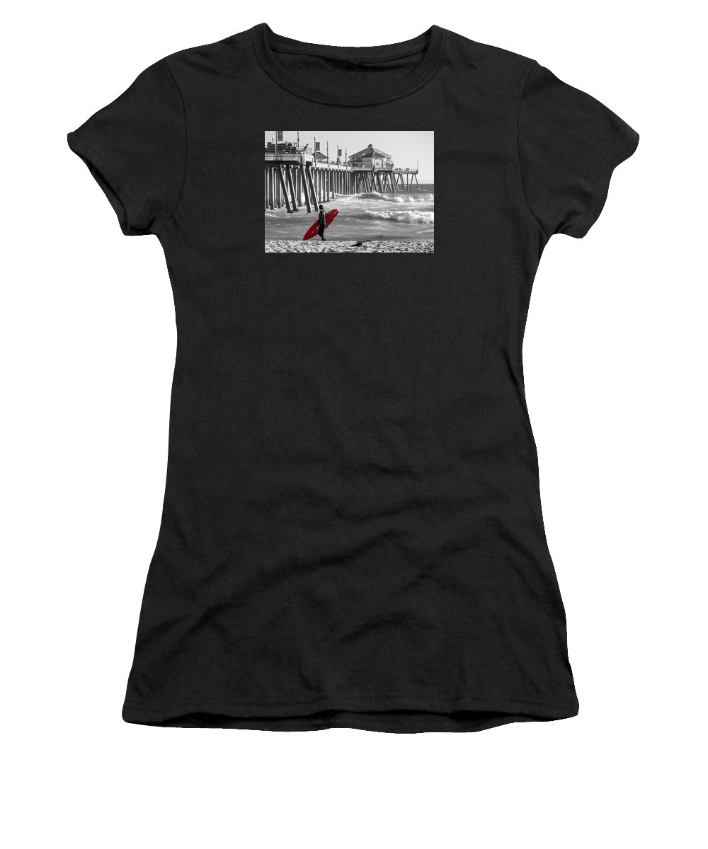 Huntington Beach Women's T-Shirt (Athletic Fit) featuring the photograph Existential Surfing At Huntington Beach Selective Color by Scott Campbell