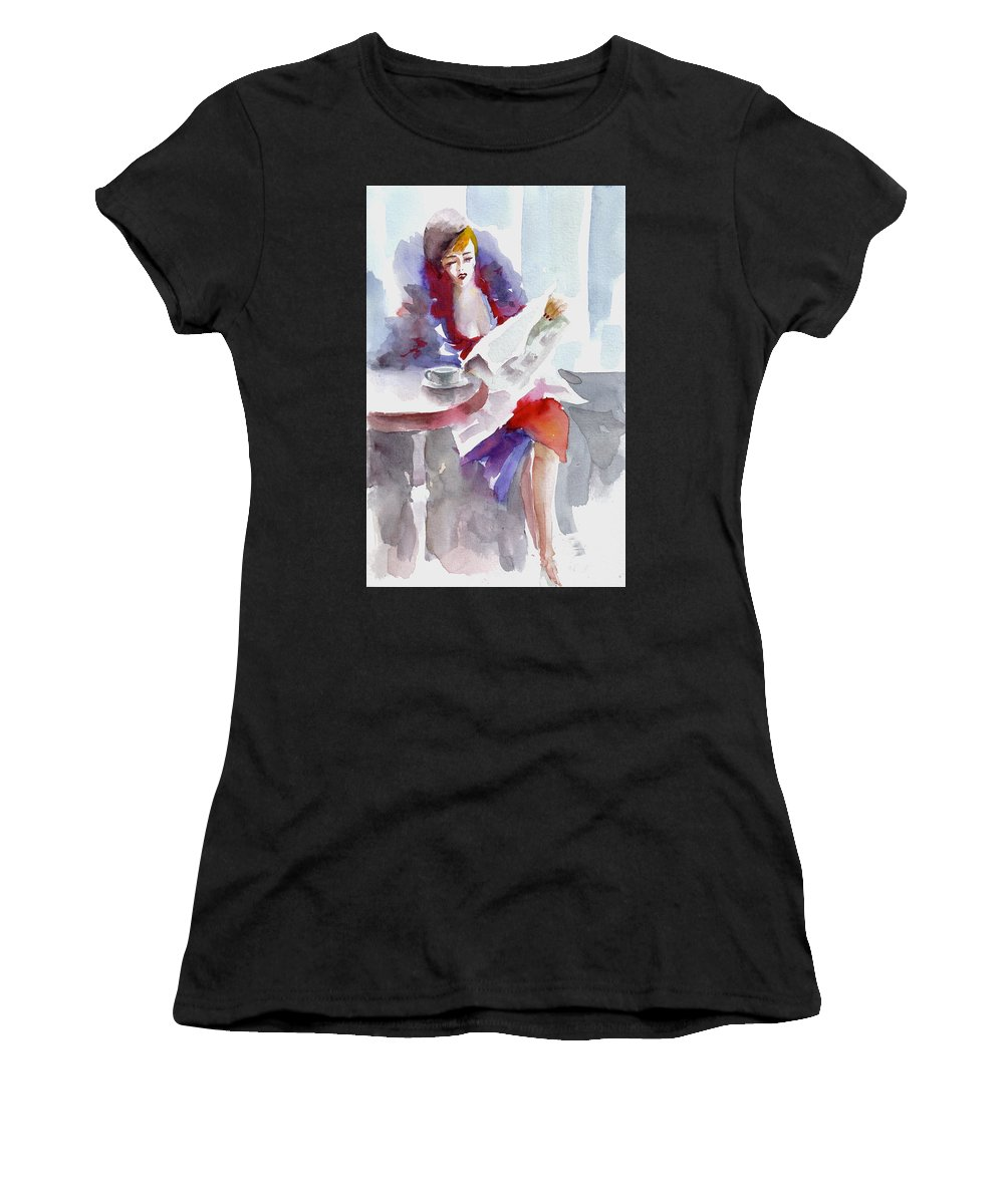 Woman Women's T-Shirt (Athletic Fit) featuring the painting Expectation.. by Faruk Koksal