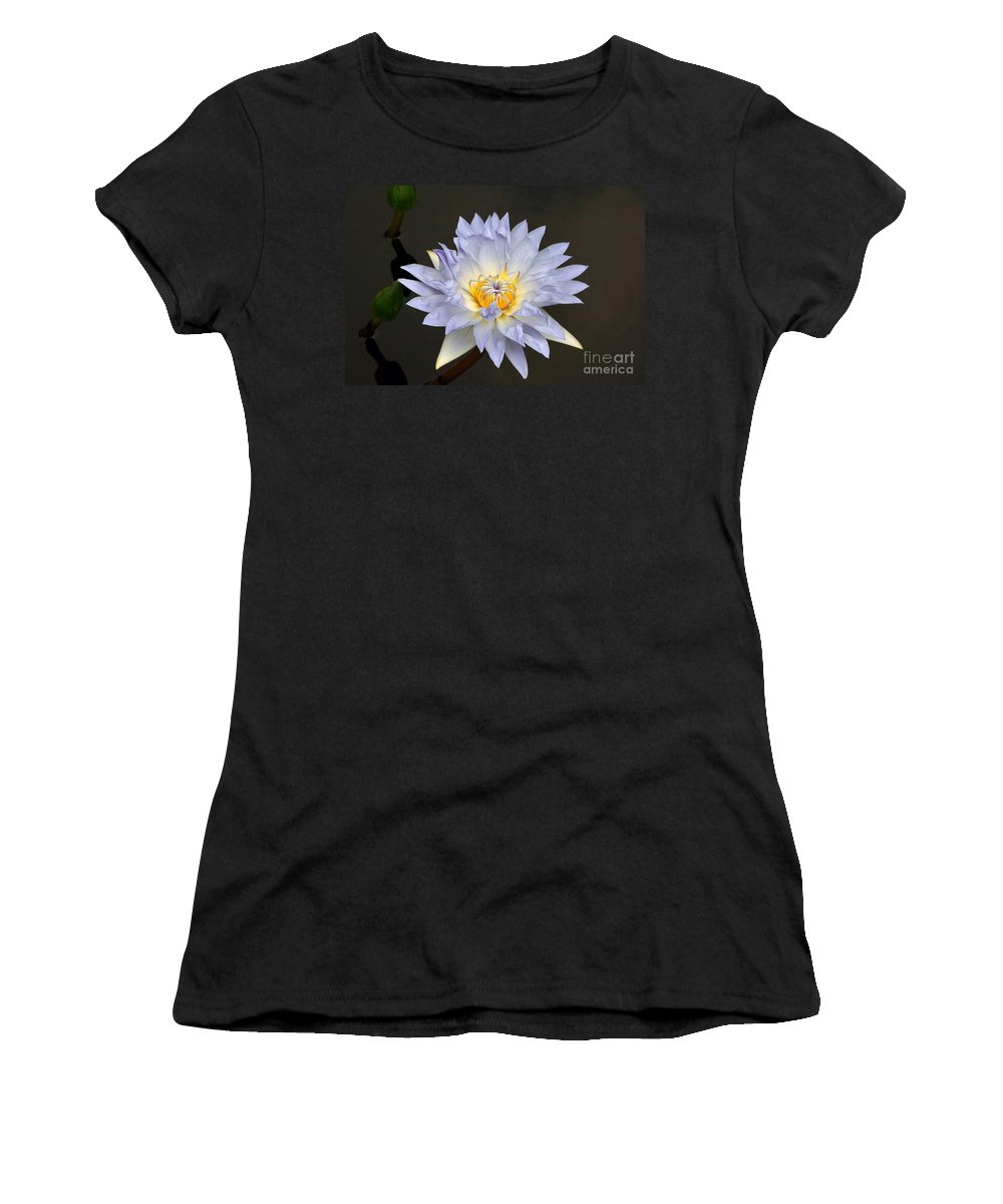Lavender Tropical Waterlily Women's T-Shirt (Athletic Fit) featuring the photograph Exquisite Lavender Waterlily by Byron Varvarigos