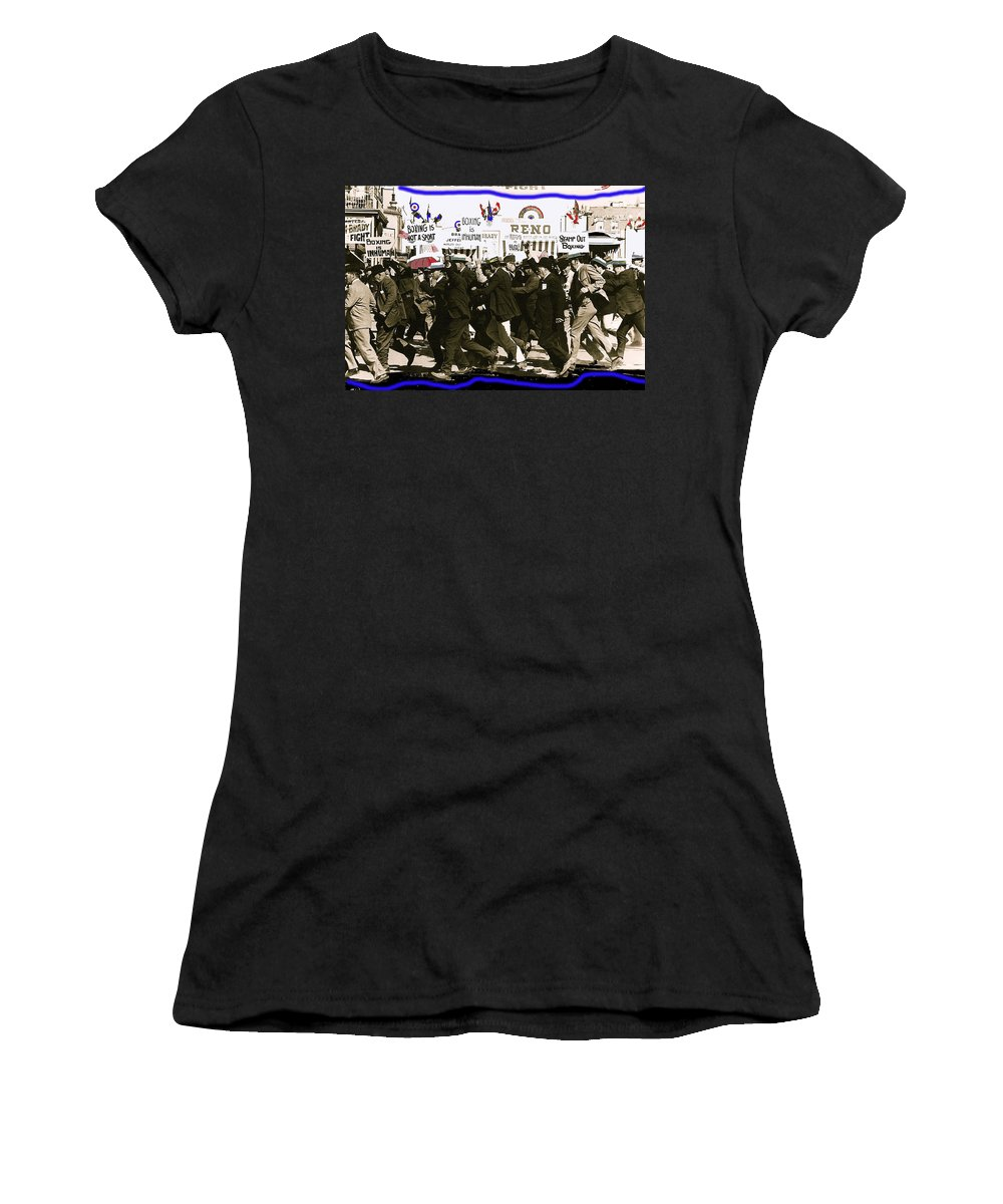 Extras Racing To The Boxing Arena The Great White Hope Set Globe Arizona 1969 Anti-boxing Protestors In Back Sepia Toned Color Drawing Added Women's T-Shirt featuring the photograph Extras Racing To The Boxing Arena The Great White Hope Set Globe Arizona 1969-2009 by David Lee Guss