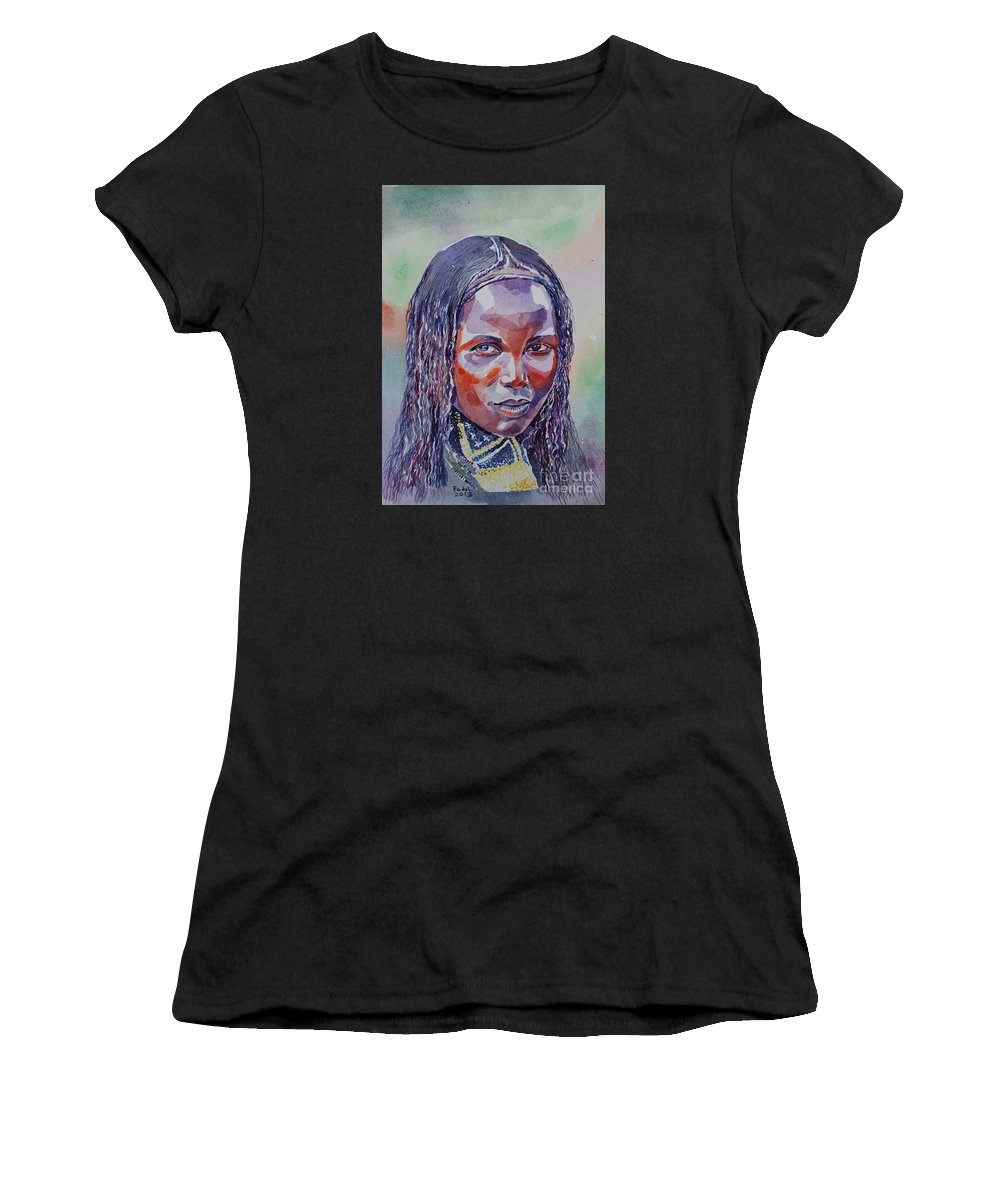 Face From Sudan 1 Women's T-Shirt featuring the painting Face From Sudan 1 by Mohamed Fadul