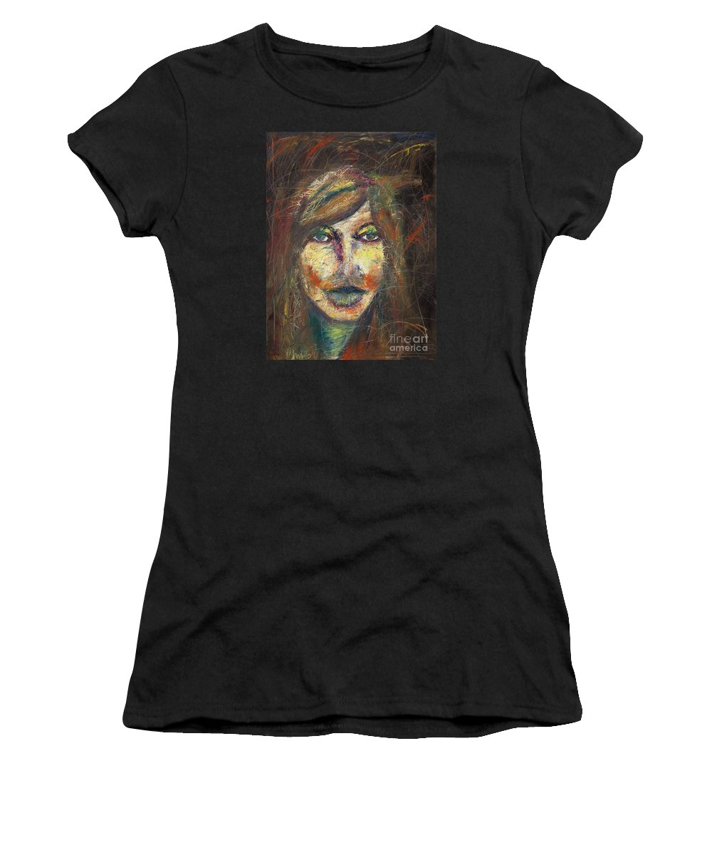 Women's T-Shirt featuring the painting Faces 18 by Christina Naman