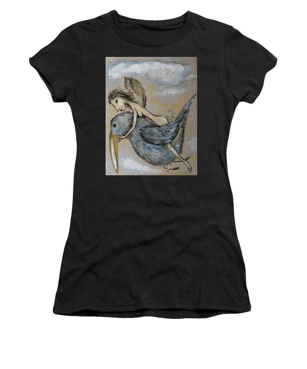 Surreal Women's T-Shirt featuring the painting Faery And The Stork - Prints by Sue Wright